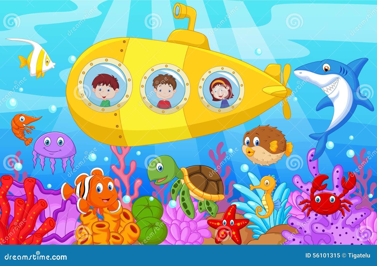 Lycklig ungetecknad film i ubåt på havet