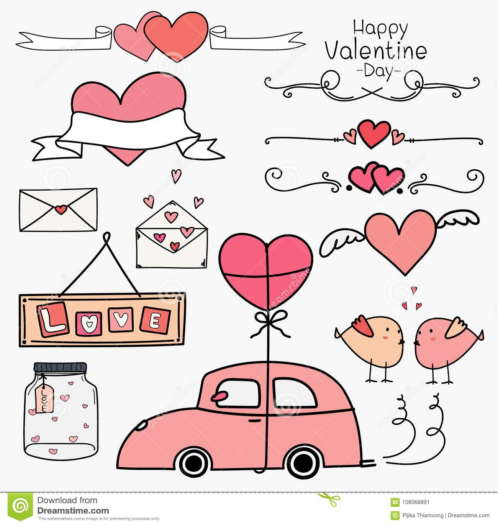 Lycklig valentin för dag Uppsättning av begreppet för rosa färger för klotterValentine Day Ornaments And Decorative beståndsdelar