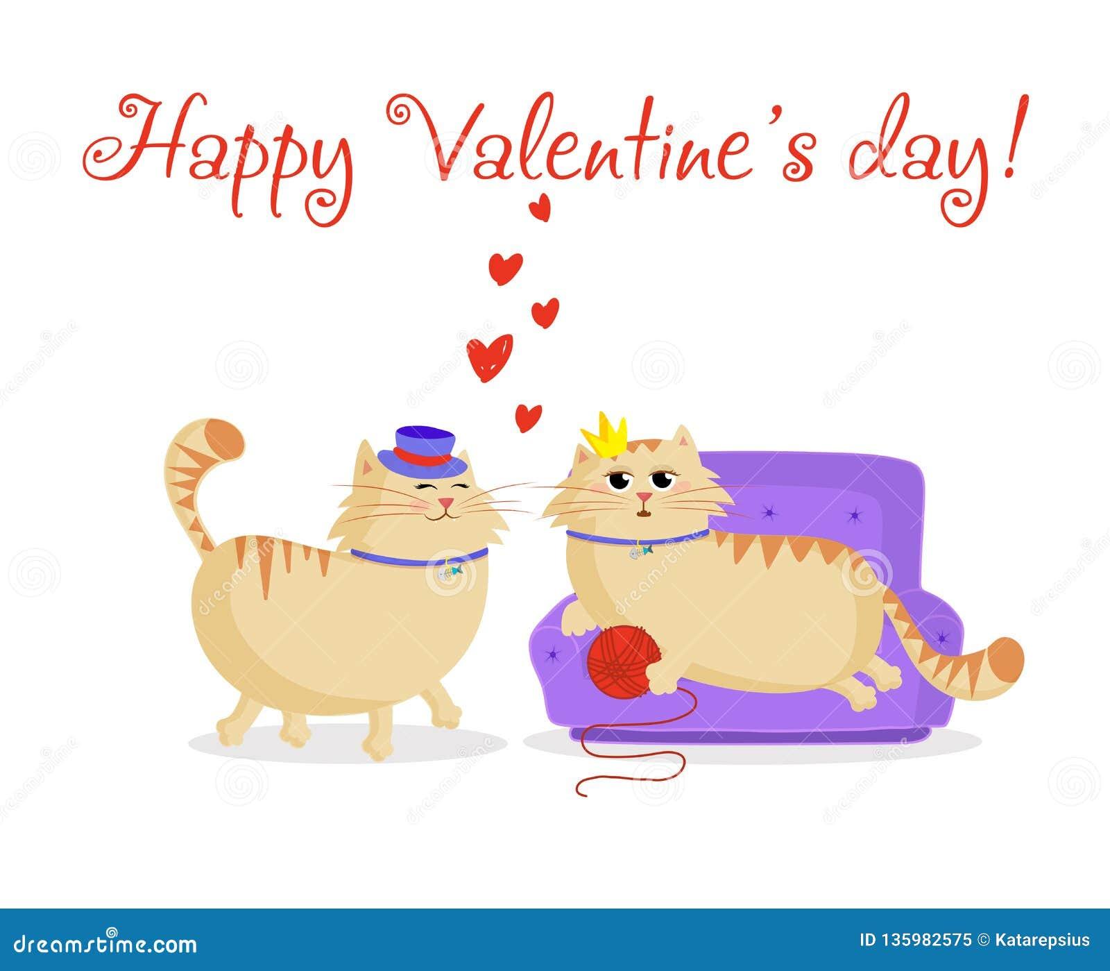 Lycklig valentinvykort med gulliga tecknad filmpar av förälskade katter