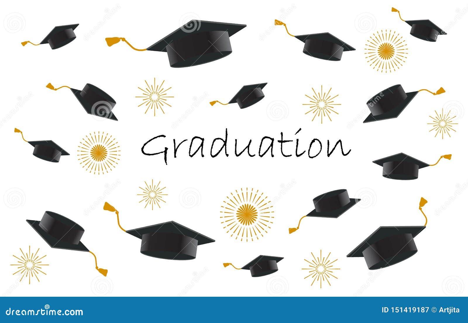 Lyckliga avlägga examen studenter eller elevhänder, i att kasta avläggande av examenlock i aien