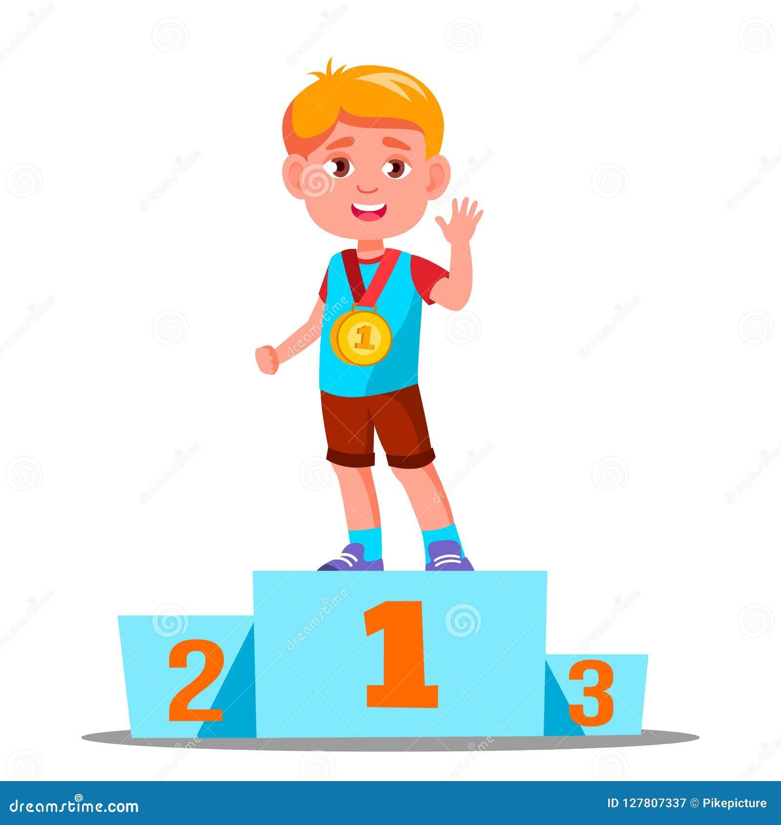 Lyckliga barn på en sportsockel med guldmedaljvektorn konkurrens isolerad knapphandillustration skjuta s-startkvinnan