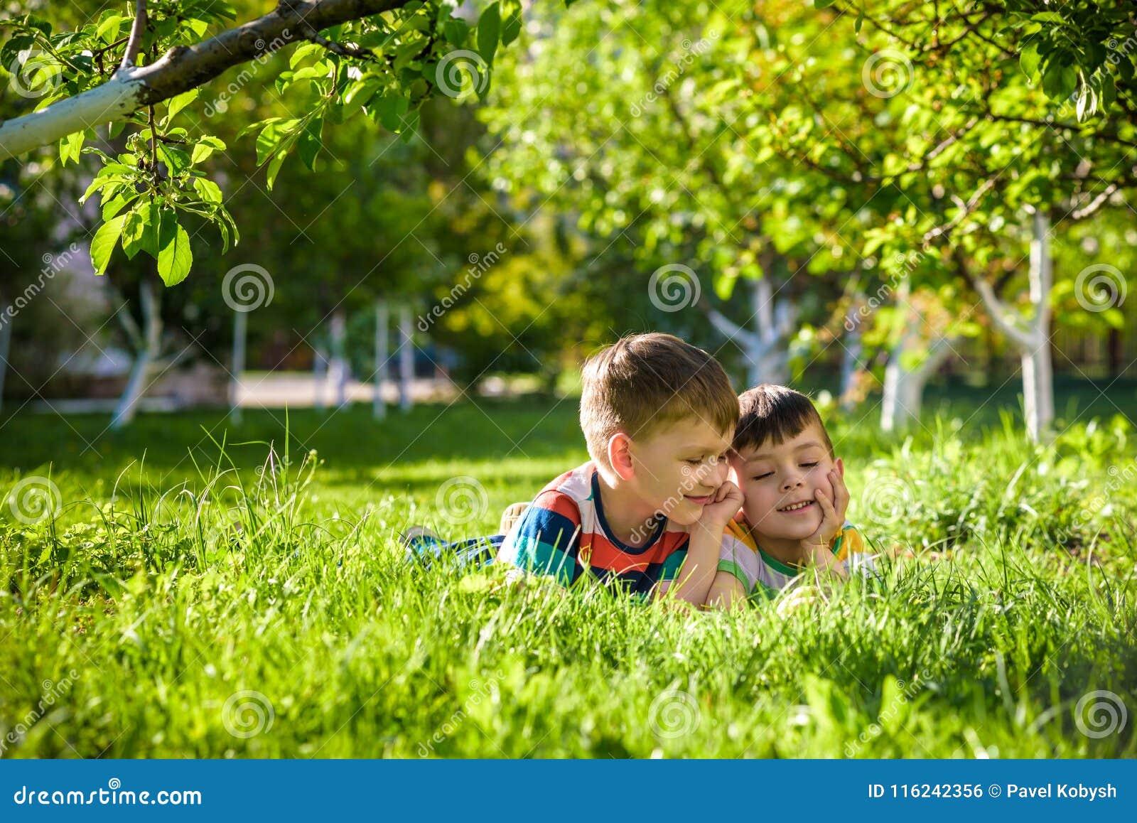 Lyckliga barn som har roligt utomhus Ungar som spelar i sommar, parkerar Pysen och hans broder som lägger på grönt nytt gräs, sem