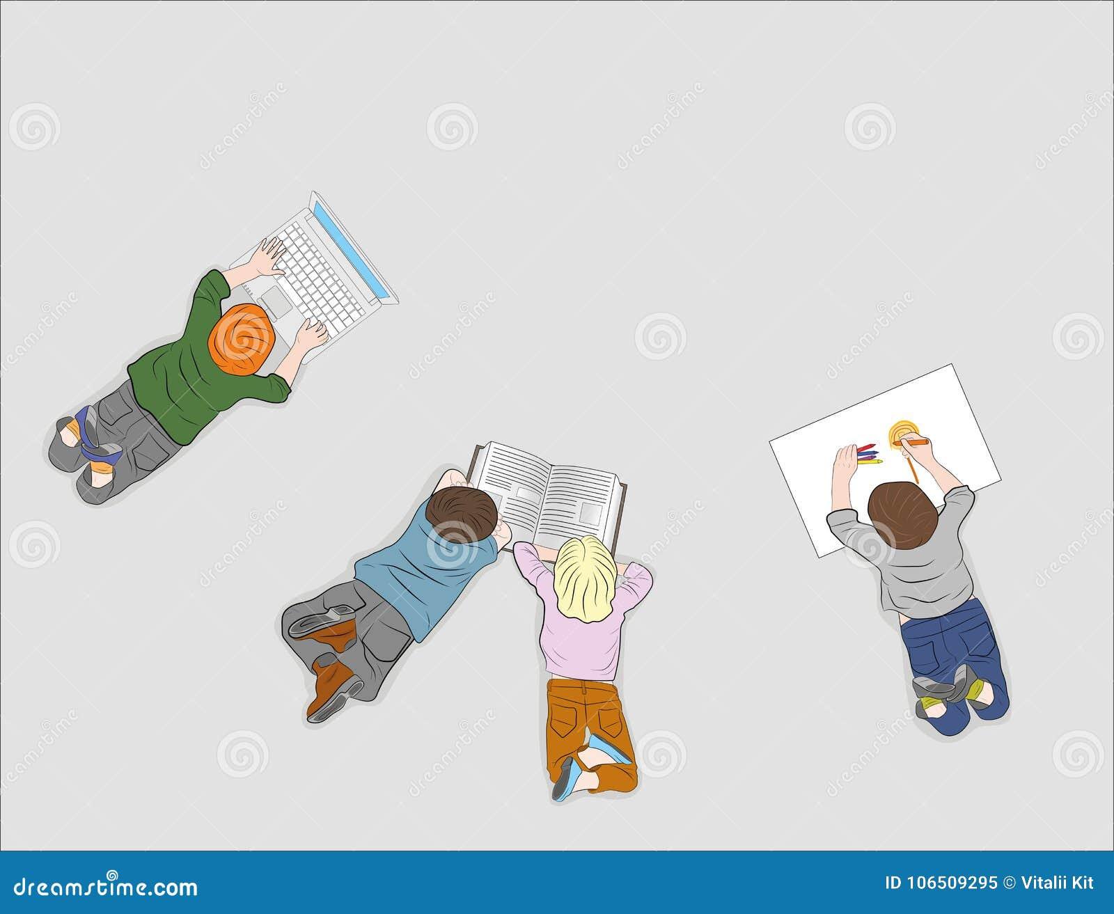 Lyckliga barn Top beskådar Varje barn är upptaget med deras egen affär läsa en bok, teckning som arbetar med en dator Vektor dåli