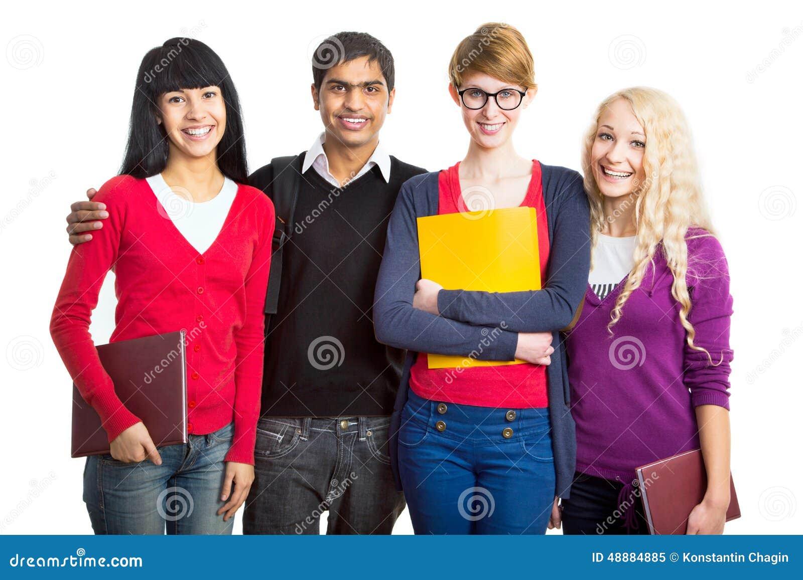 Lyckliga deltagare för grupp