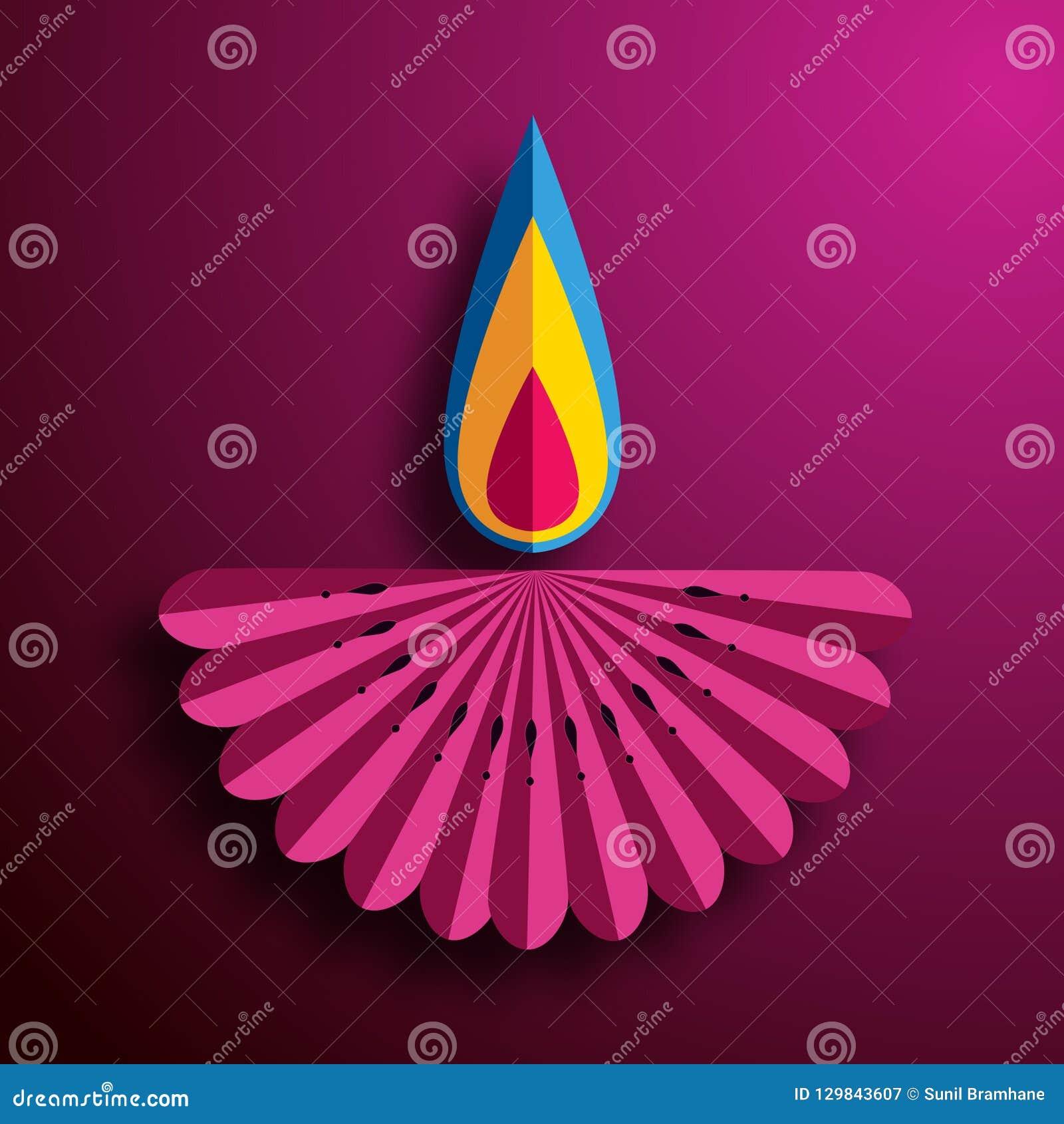 Lyckliga Diwali Diya lampor som tänds under diwaliberöm