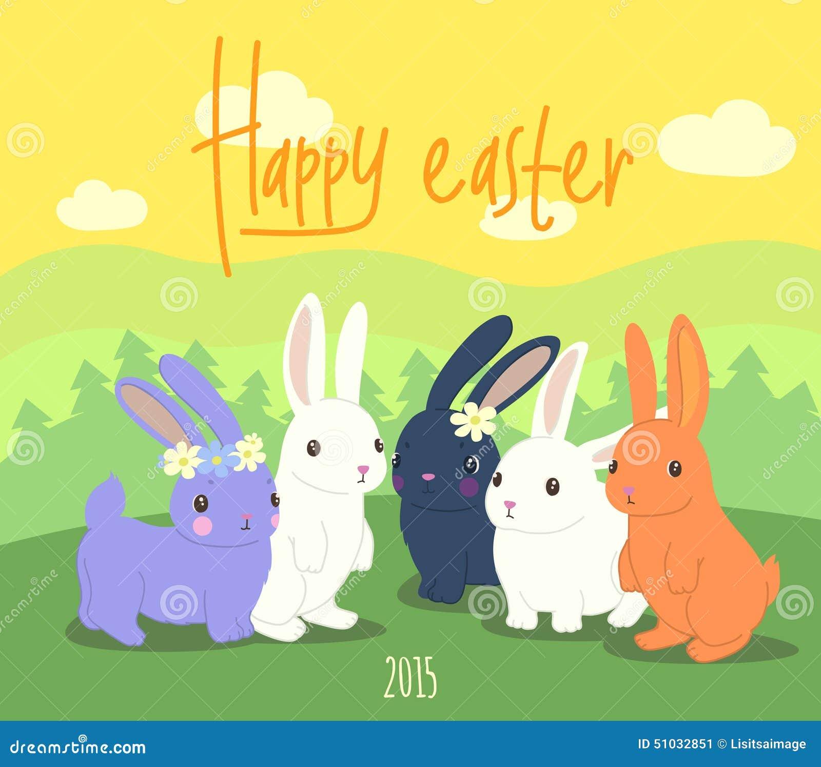 Lyckliga easter gulliga kaniner