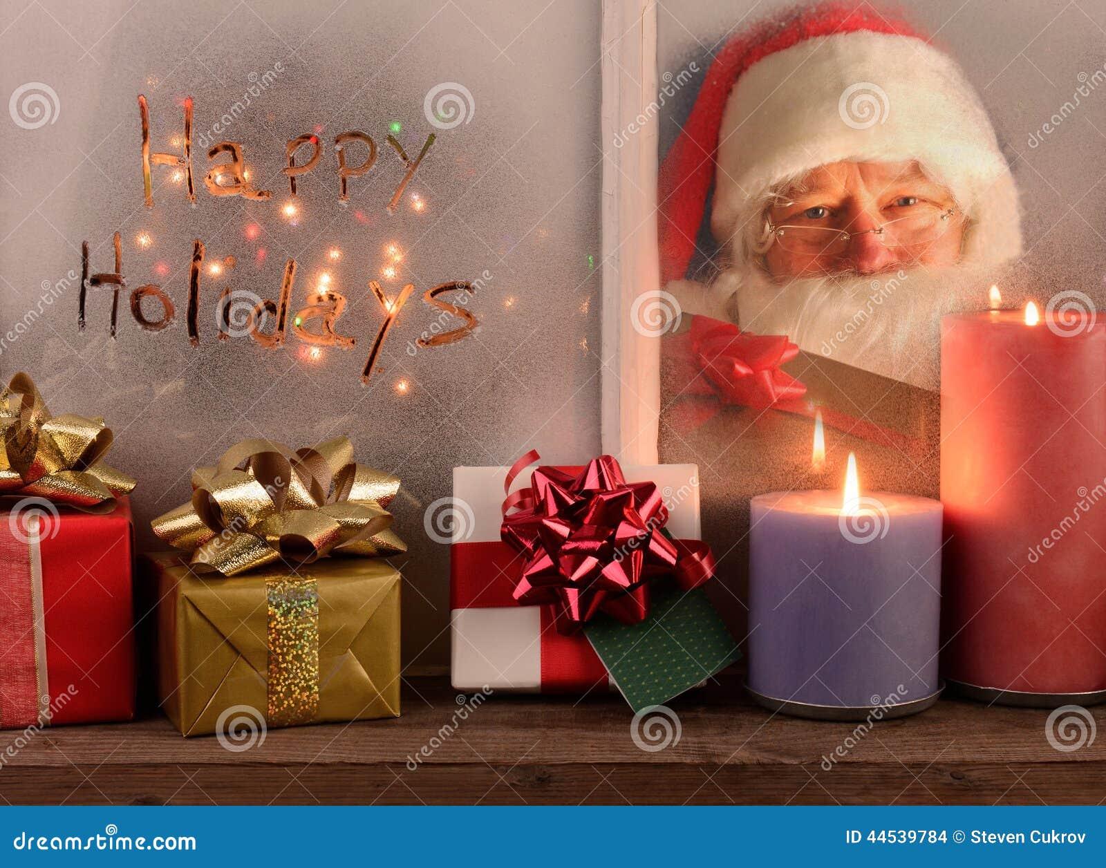 Lyckliga ferier och Santa In Window