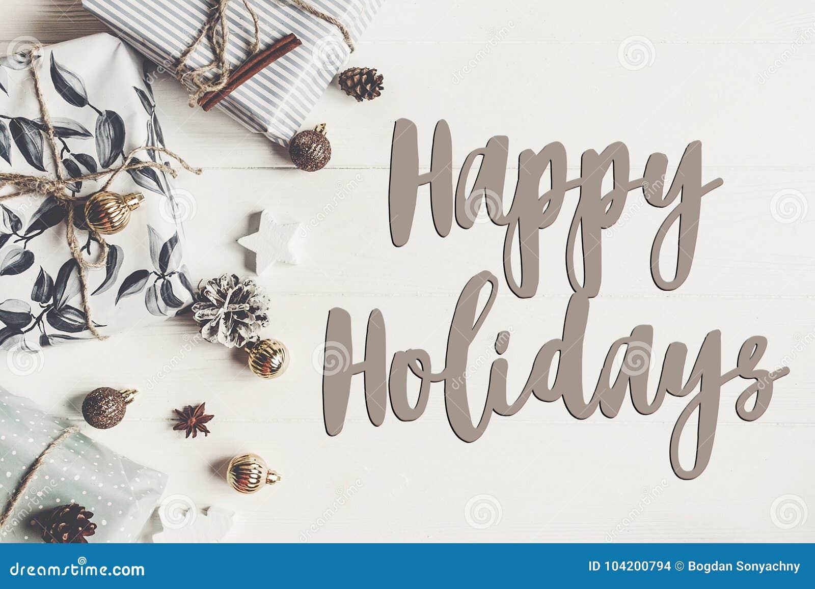 Lyckliga ferier smsar, det säsongsbetonade tecknet för hälsningskortet stilfullt funktionsläge