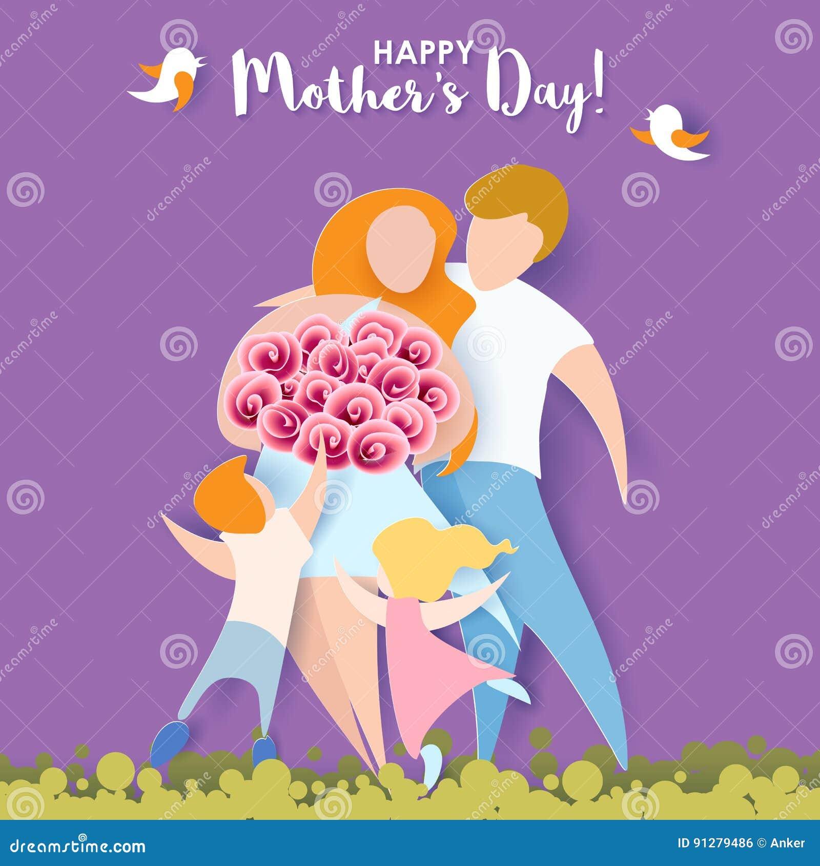 Lyckliga mödrar för dag papperssnittstil