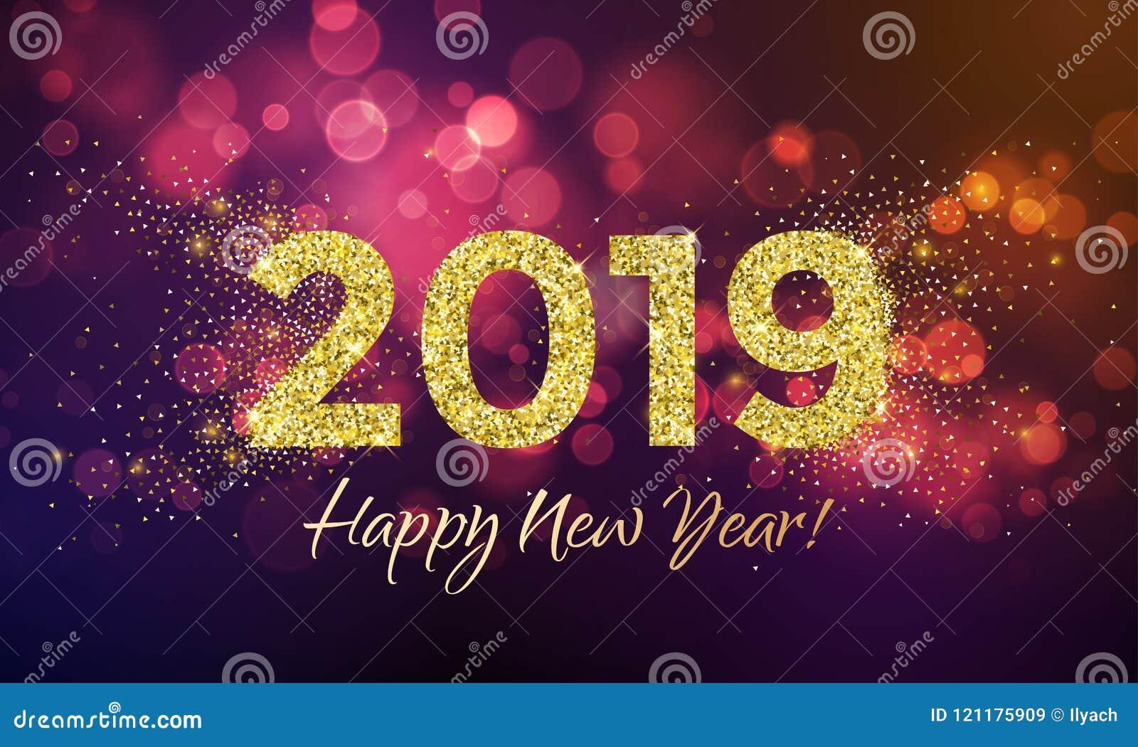 2019 lyckliga nya år blänker konfettivektorkortet
