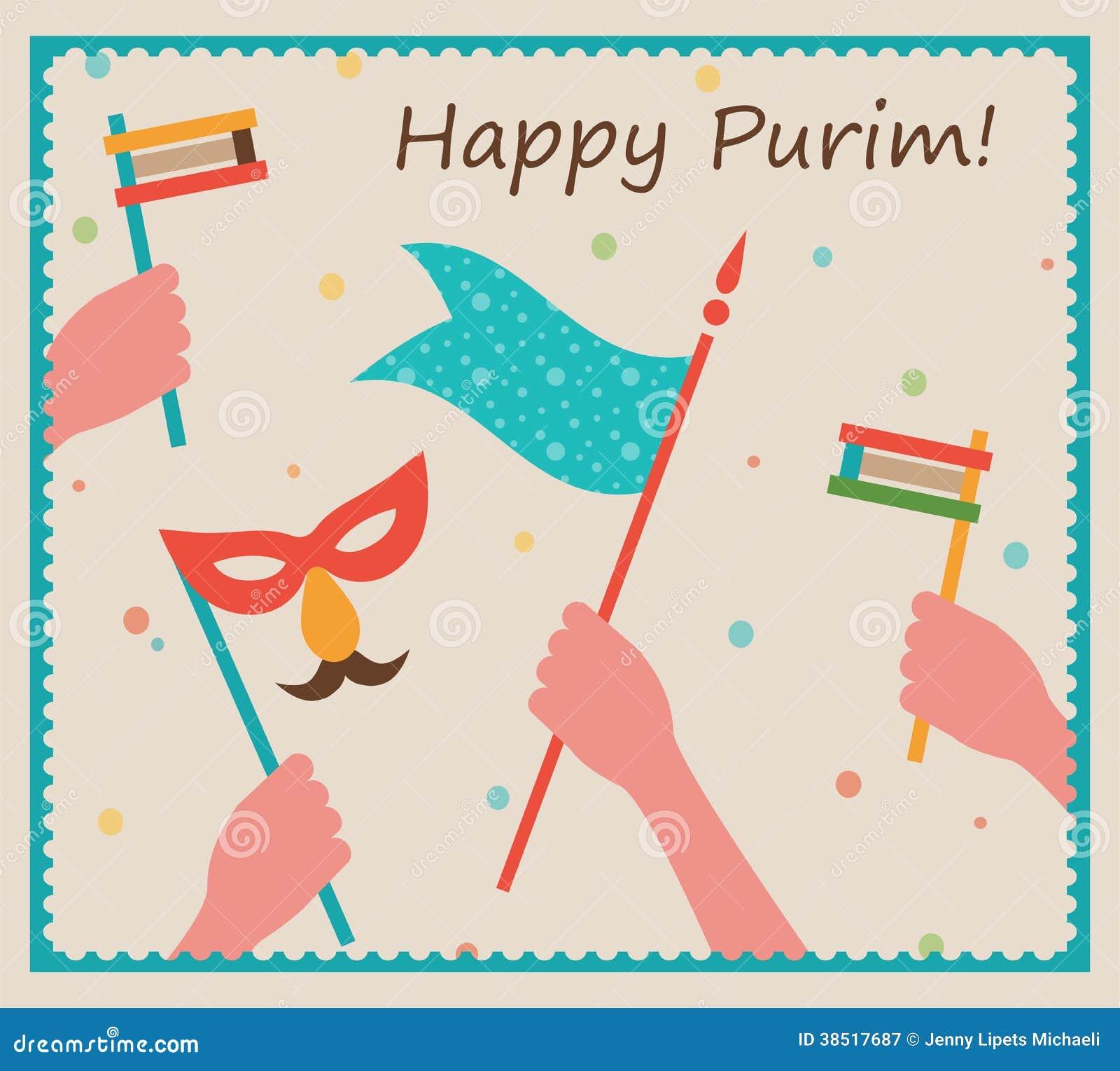Lyckliga Purim. Parti- eller festivalinbjudandesign
