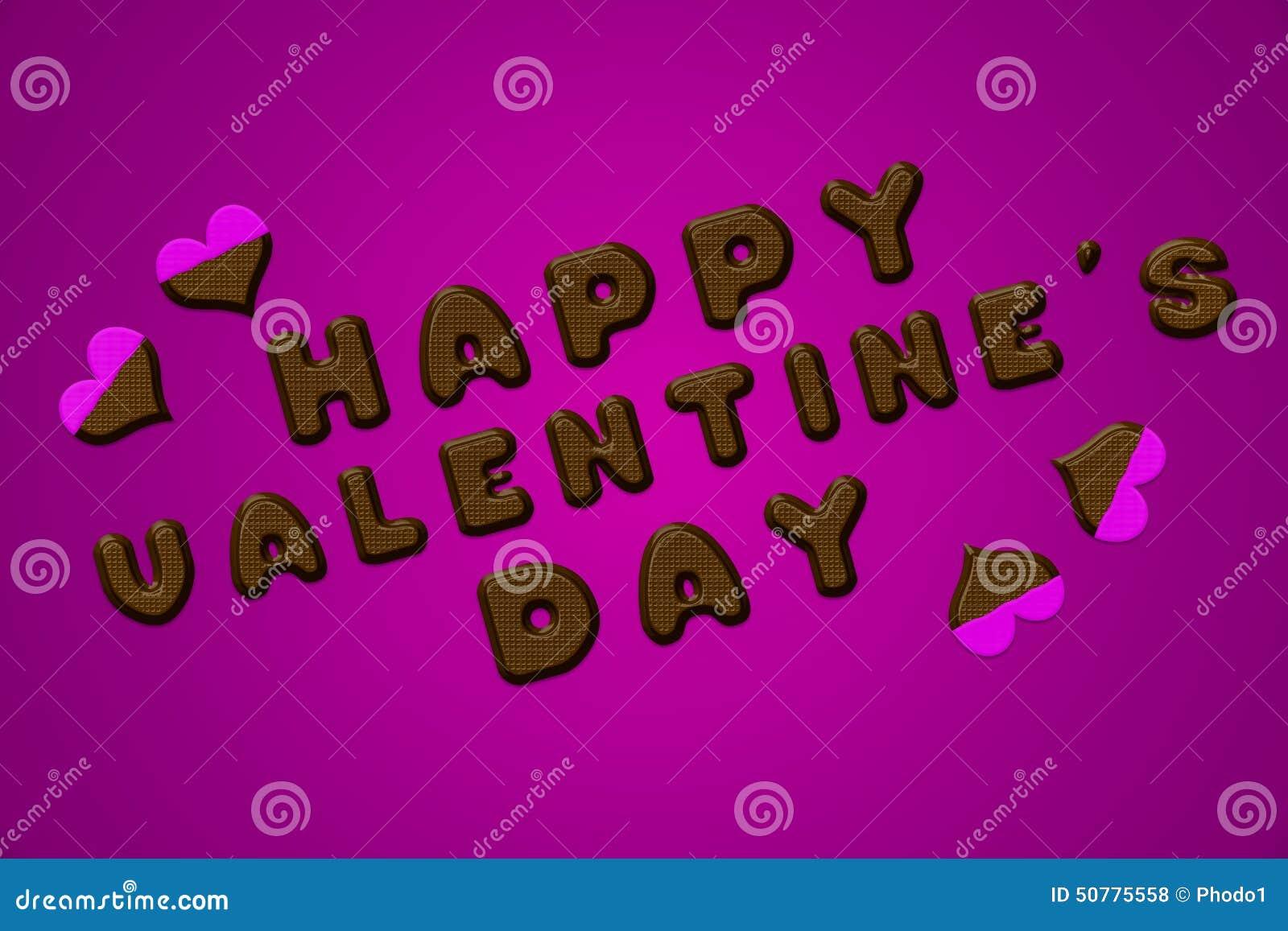 Lyckliga valentin rosa färger för choklad för dagbokstäver