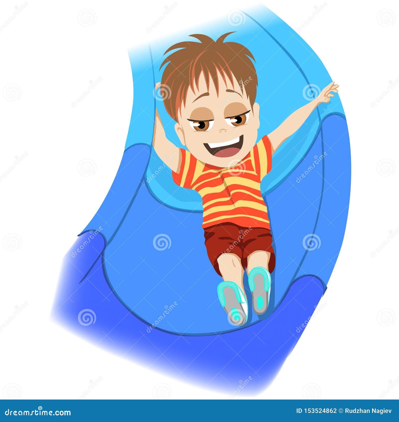 Lyckligt barndombegrepp Ung pojke som spelar i en ungelekplats som skjuter ner en blå glidbana som skrattar med njutning i a