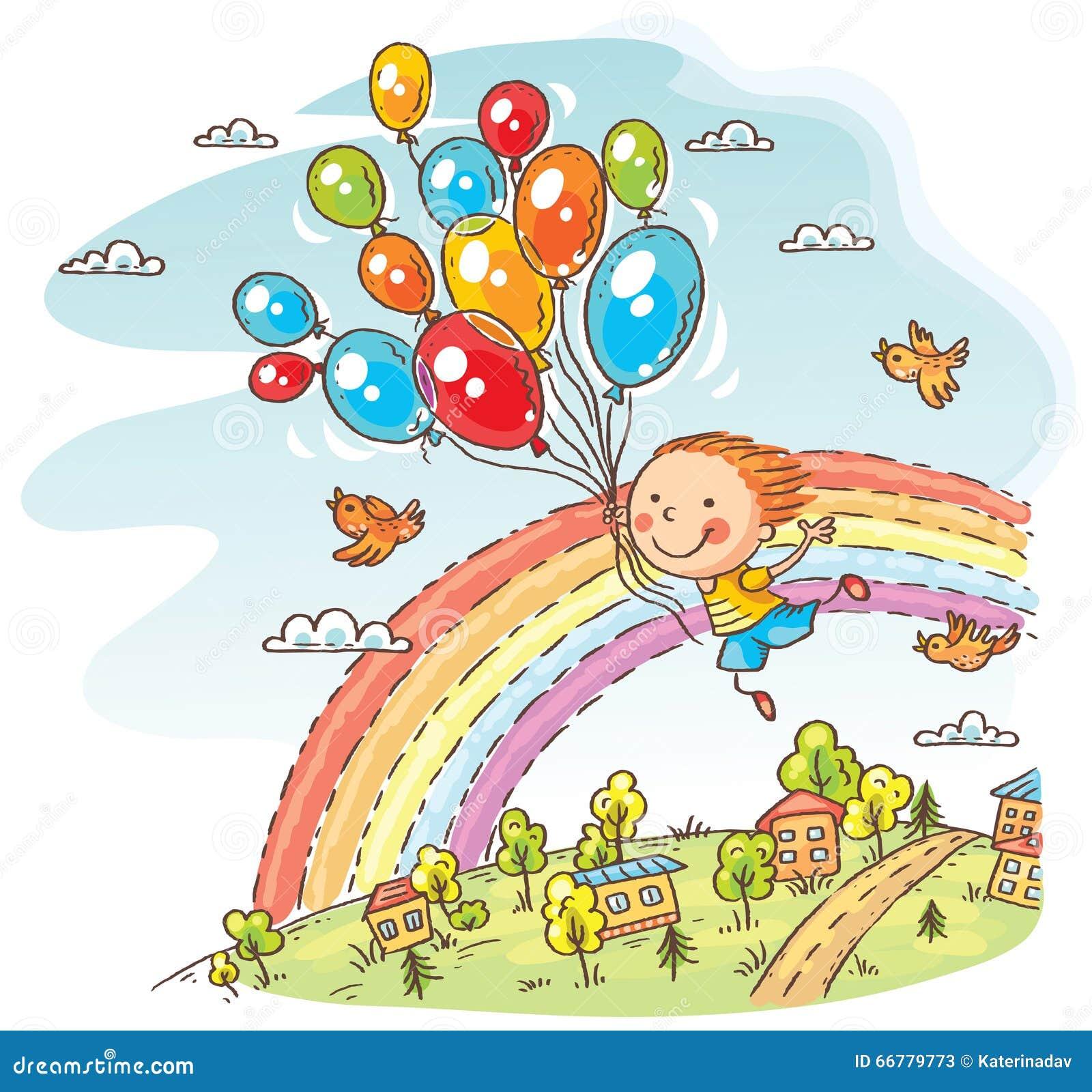 Lyckligt barnflyg med ballongerna