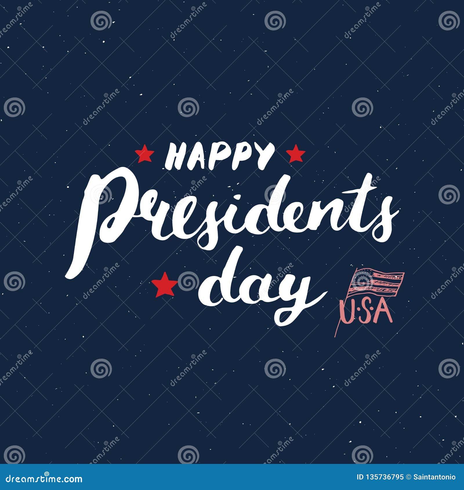 Lyckligt för USA för tappning för dag för president` s kort hälsning, Amerikas förenta staterberöm Handbokstäver, amerikansk feri