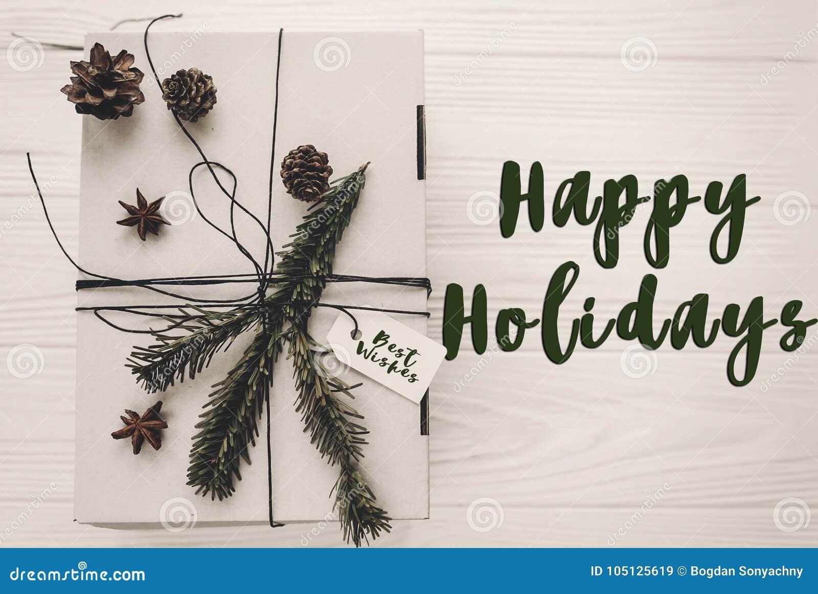 Lyckligt ferietexttecken, hälsningkort stilfull julrusti