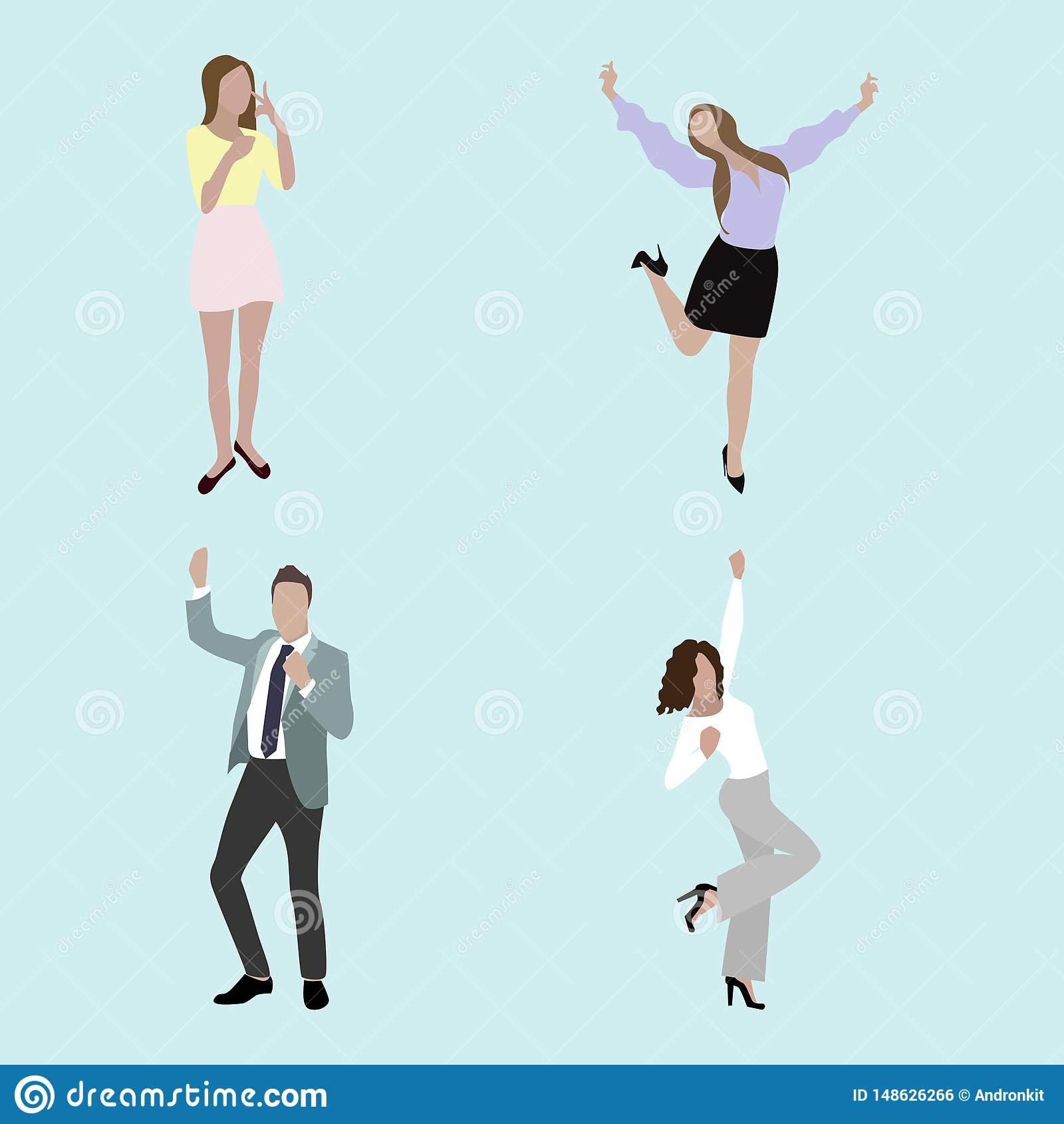 Lyckligt folk, glädjeman och kvinna