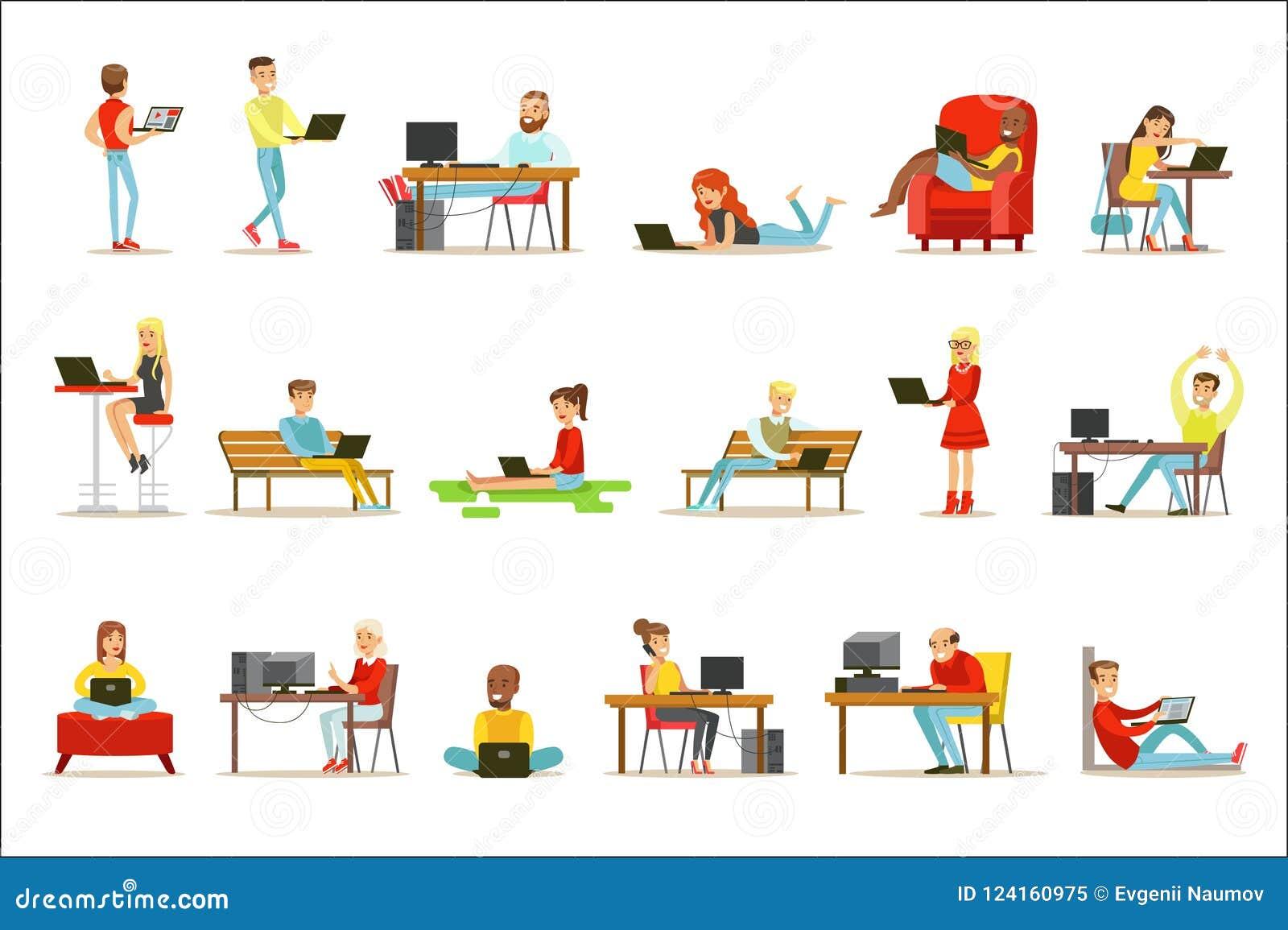 Lyckligt folk som spenderar deras Tid genom att använda datoruppsättningen av vektorillustrationer med män och kvinnor som använd