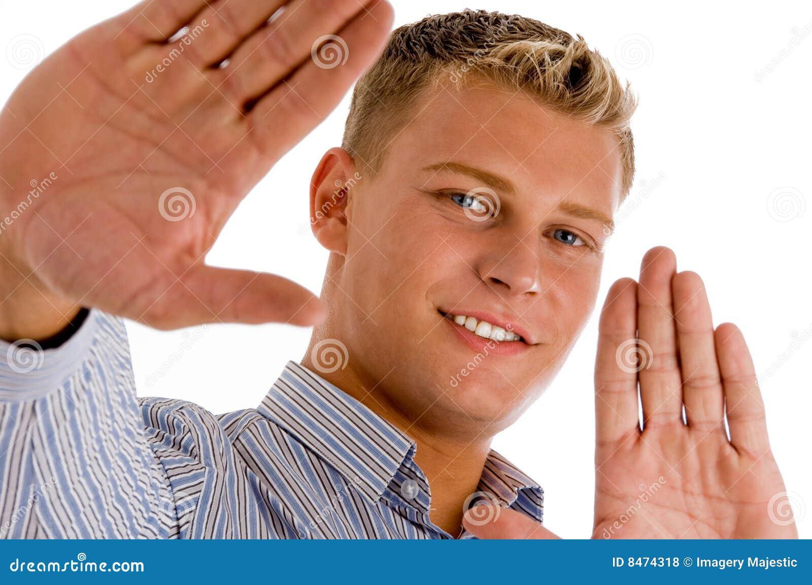 Lyckligt gömma i handflatan hans manlig uppvisning