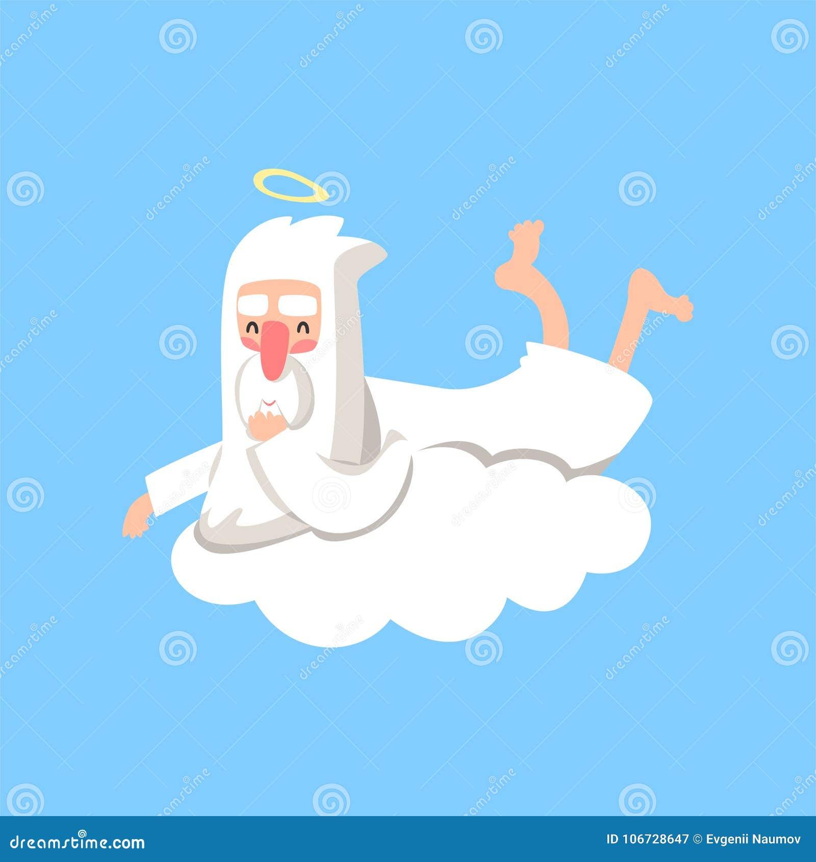 Lyckligt gudtecken som vilar på det vita molnet Daglig rutin för skapare` s Kristet religiöst tema Plan vektor som isoleras på