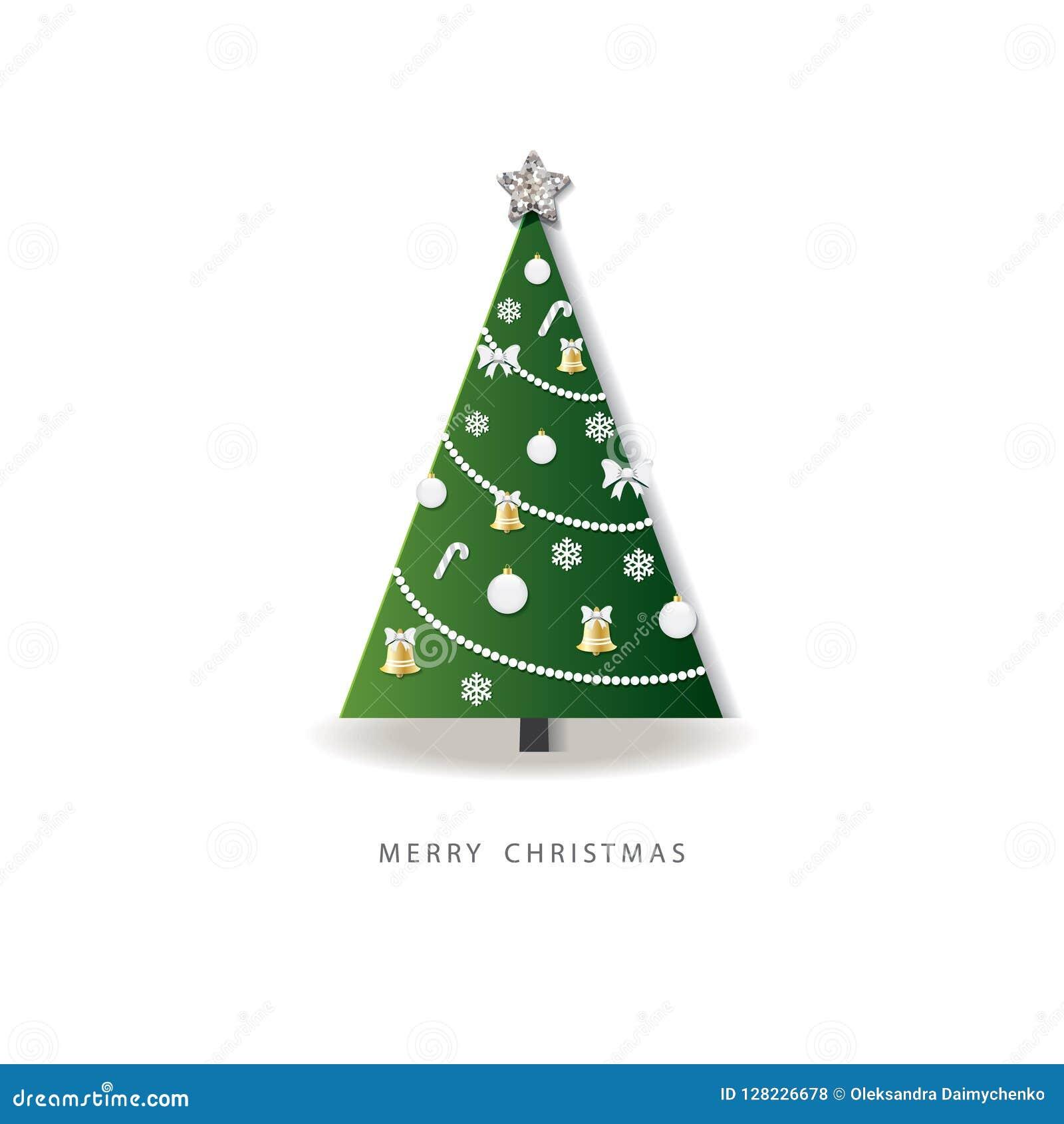 Lyckligt hälsningskort för nytt år julen dekorerade treen papper klippt ut design 3D