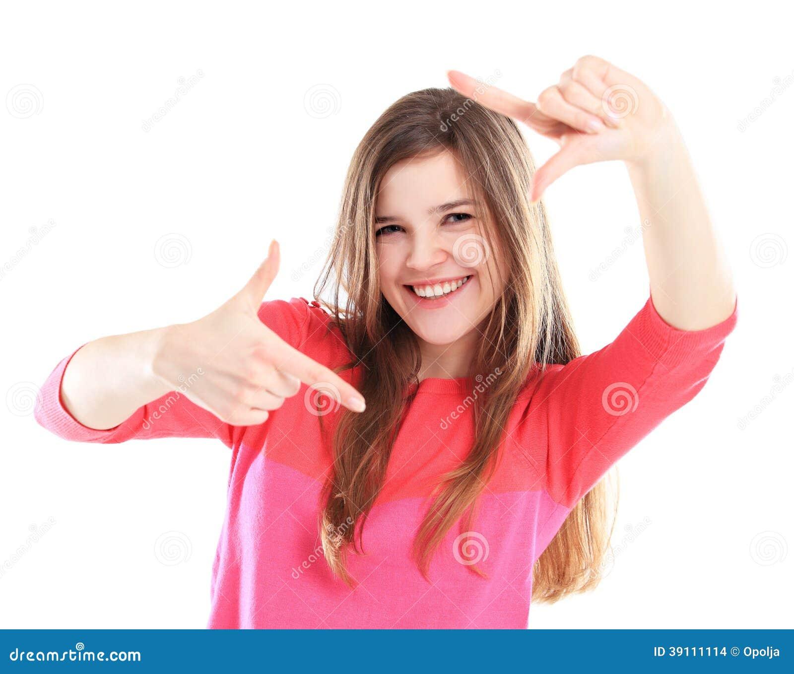 Lyckligt härligt le för kvinna