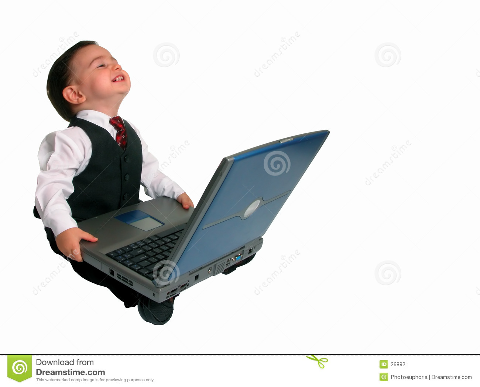 Lyckligt hans bärbar dator liten manserie