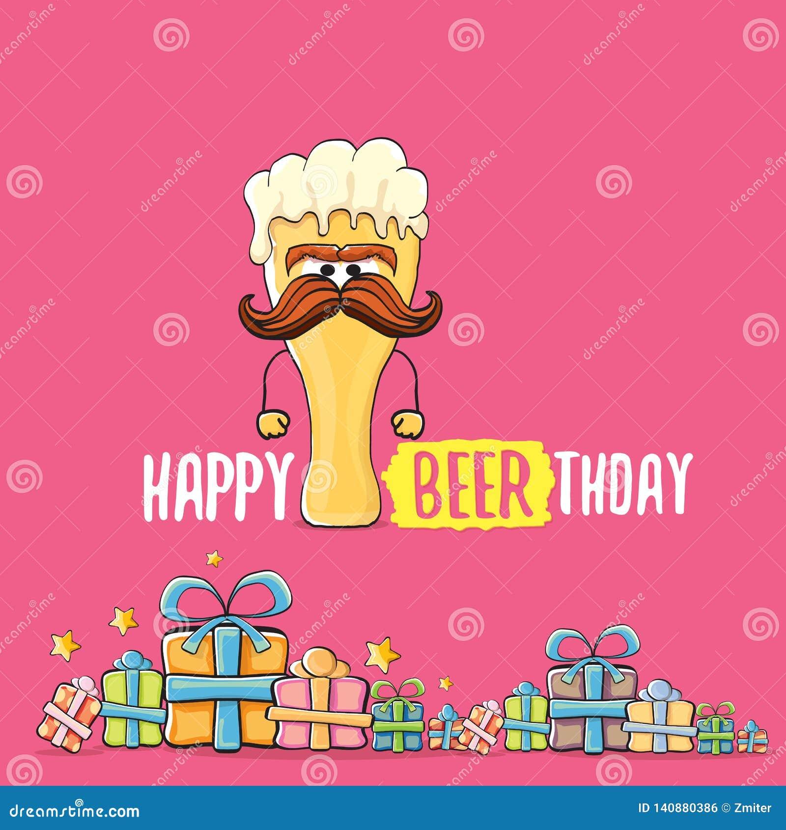 Lyckligt kort eller tryck för Beerthday vektorhälsning Affisch för beröm för parti för lycklig födelsedag med det skraj ölteckene