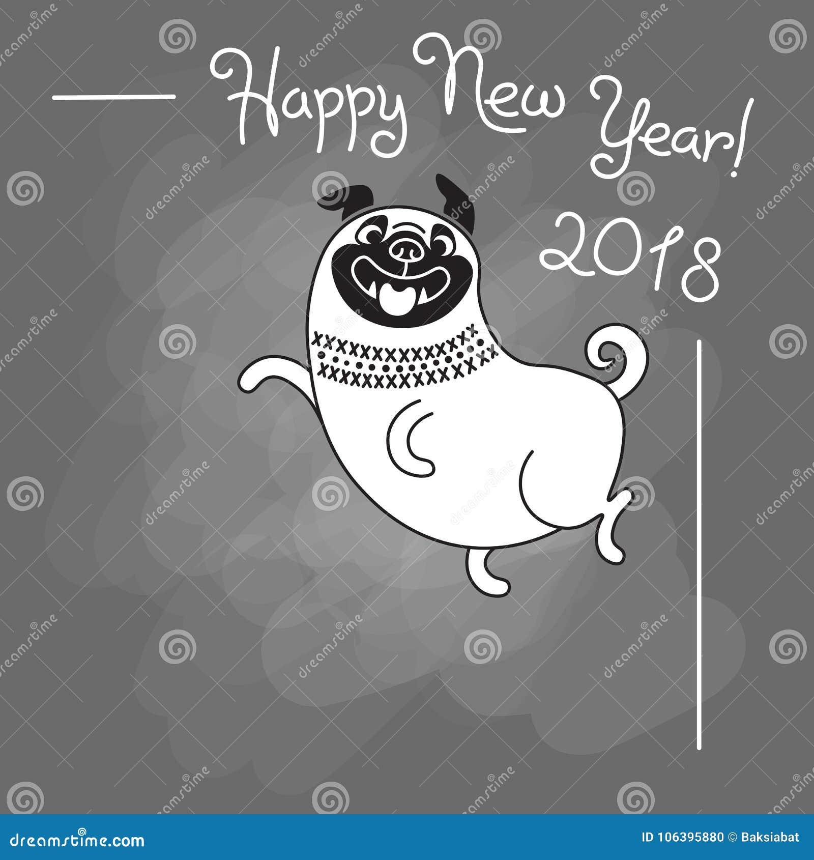 gratulerar på Lyckligt Kort För Nytt år 2018 Rolig Mops Gratulerar På Ferie  gratulerar på