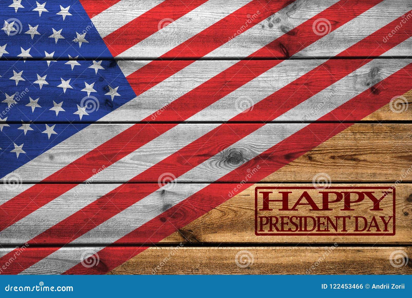 Lyckligt kort för presidentdaghälsning på träbakgrund