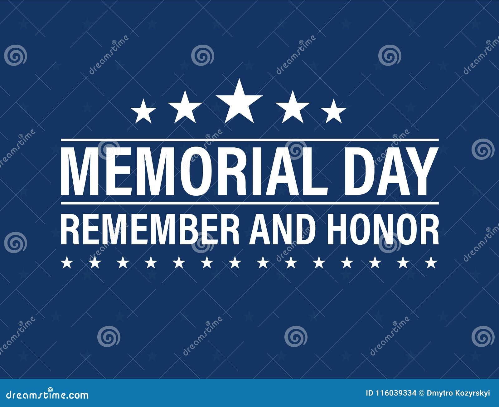 Lyckligt Memorial Day kort Nationell amerikansk ferie Festlig affisch eller baner med handbokstäver också vektor för coreldrawill