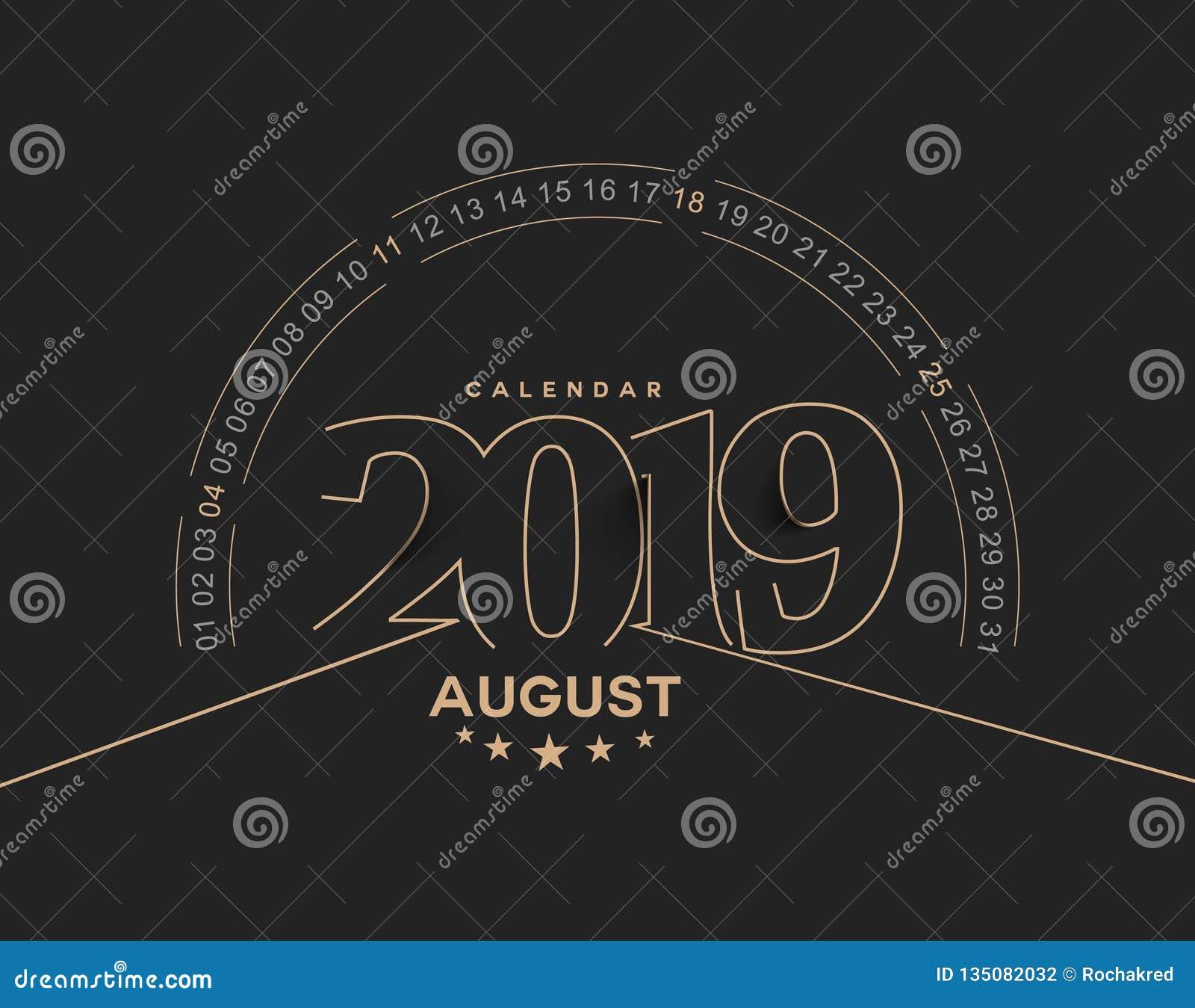 Lyckligt nytt år 2019 August Calendar - för feriedesign för nytt år beståndsdelar för feriekort, kalenderbaneraffisch för garneri