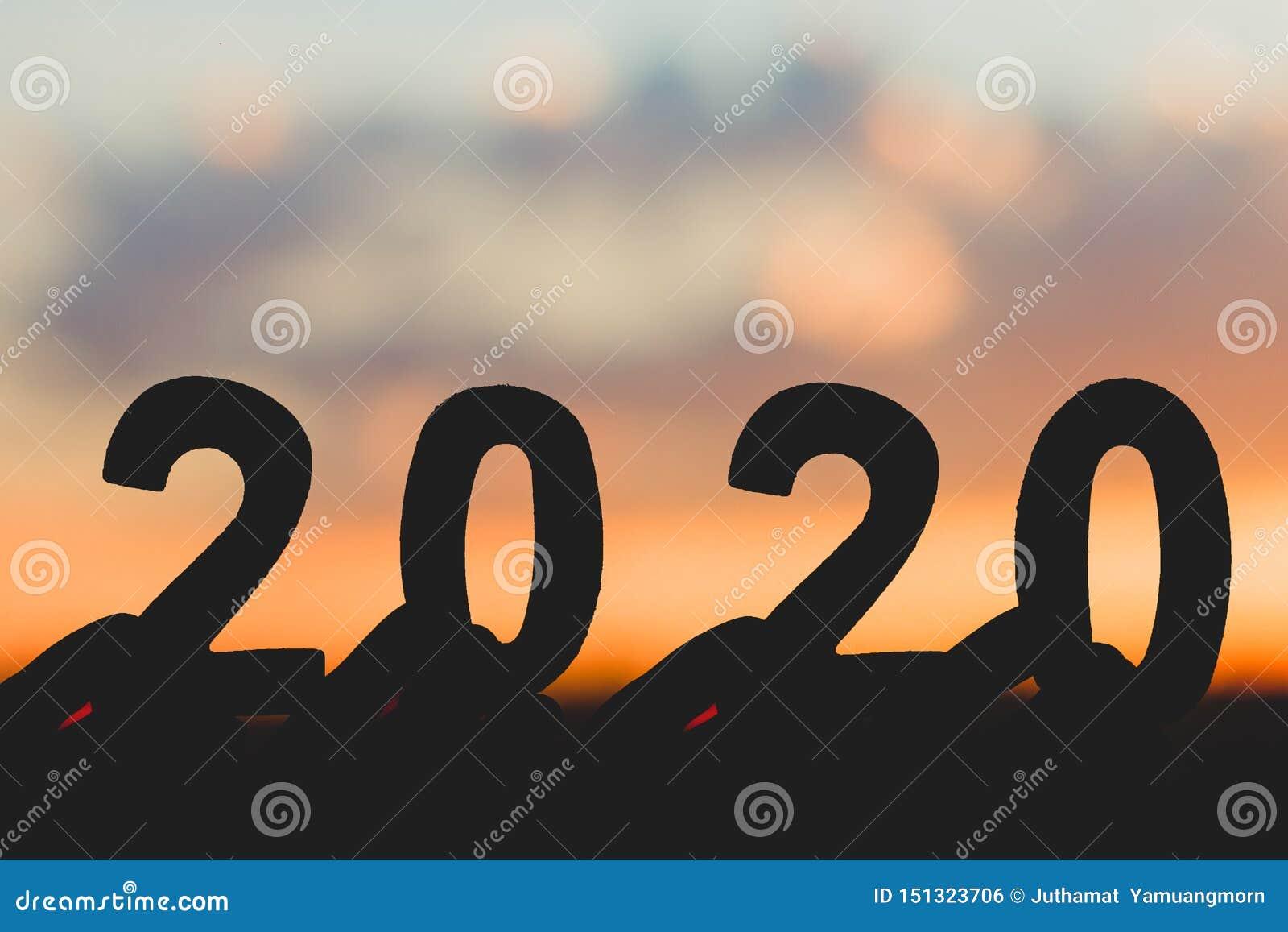 Lyckligt nytt år för kontur 2020 av numret för handinnehavträ på bakgrund för natur för himmel- och molnskymning härlig