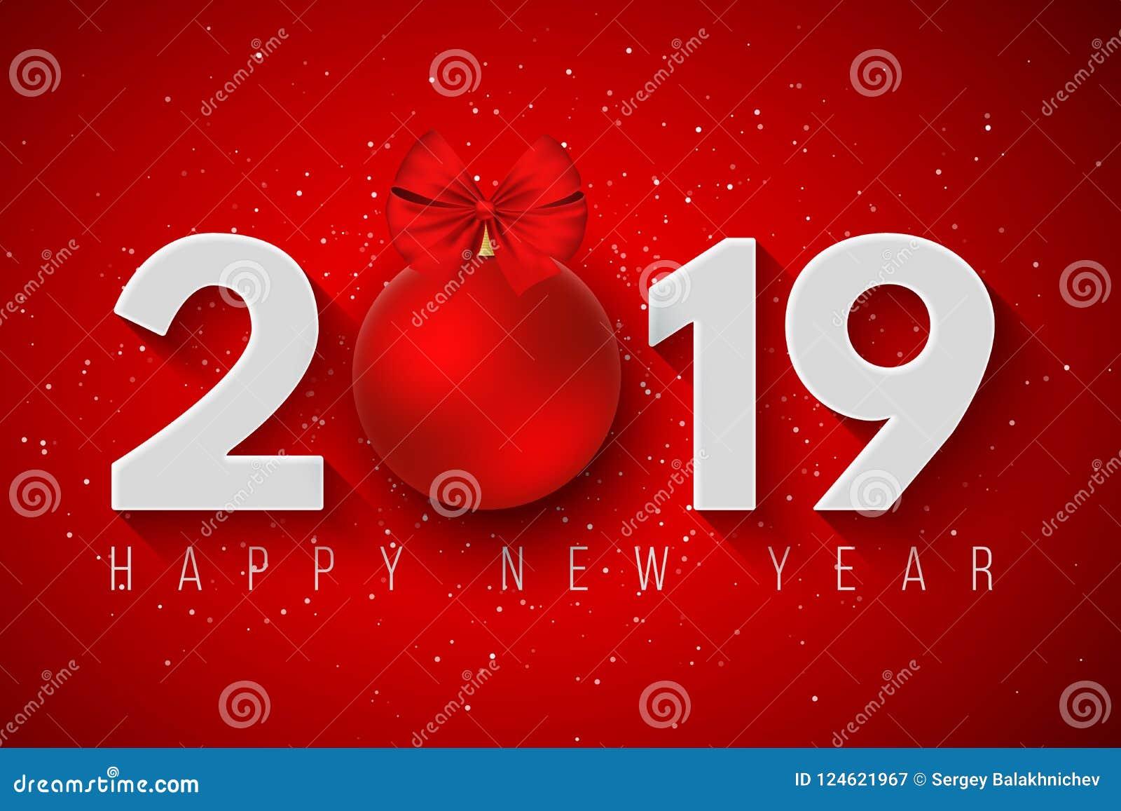 Lyckligt nytt år 2019 Festligt baner för ditt projekt Snöflingor på en ljusröd bakgrund Pappersnummer med en leksak för ` s för n