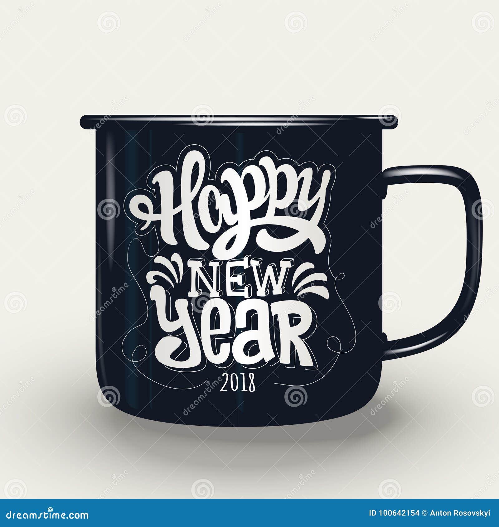 Lyckligt nytt år handbokstäver på koppen
