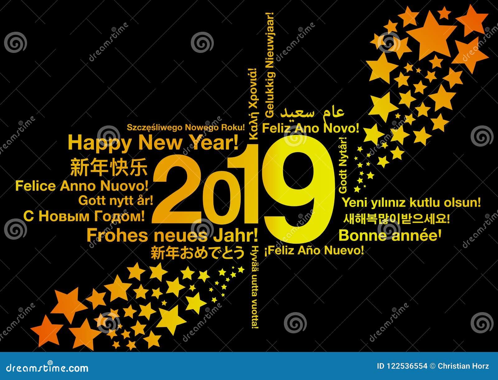 Lyckligt nytt år 2019 i olika språk