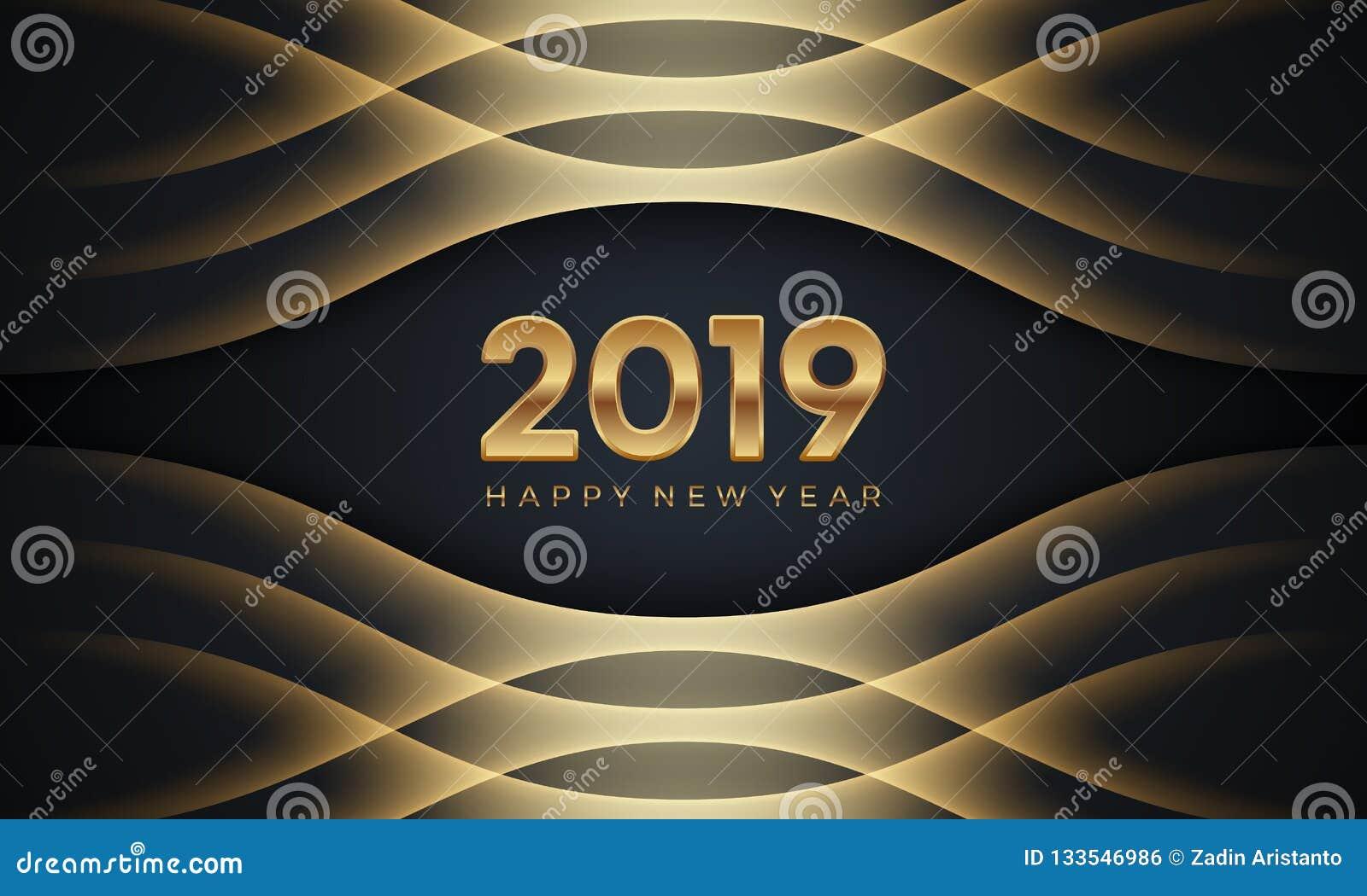 Lyckligt nytt år 2019 Idérik lyxig abstrakt vektorillustration med guld- nummer på mörk bakgrund