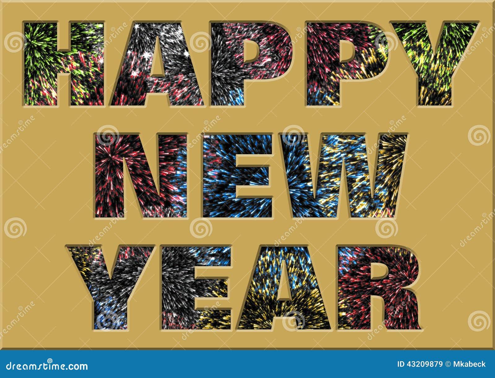 Download Lyckligt Nytt år Med Fyrverkerier Inom Handstilen Stock Illustrationer - Illustration av börjar, ändring: 43209879