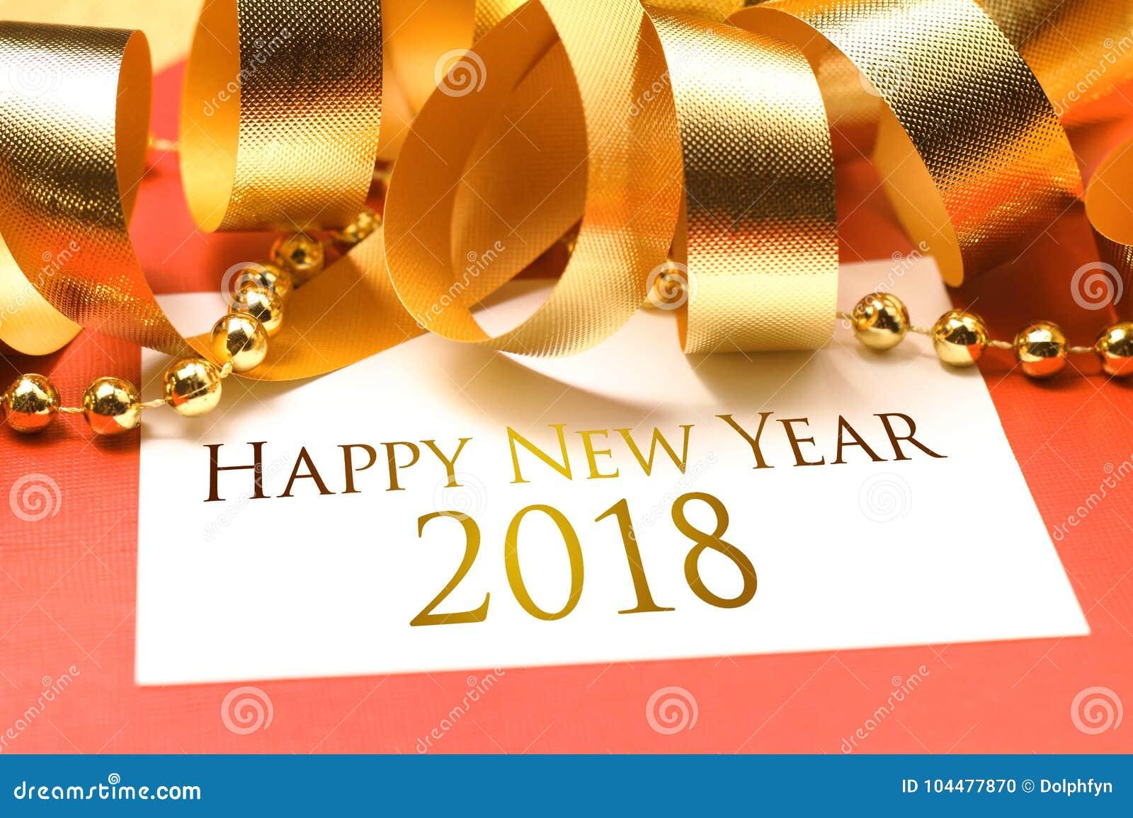Lyckligt nytt år 2018 med guld- garnering