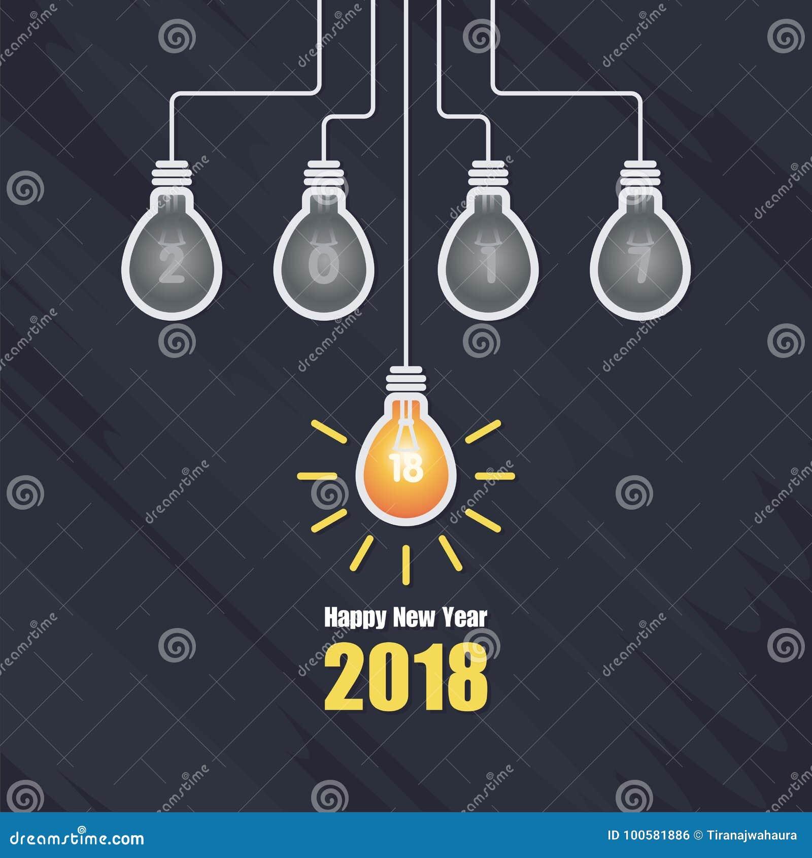 Lyckligt nytt år 2018 med illustrationen för ljus kula