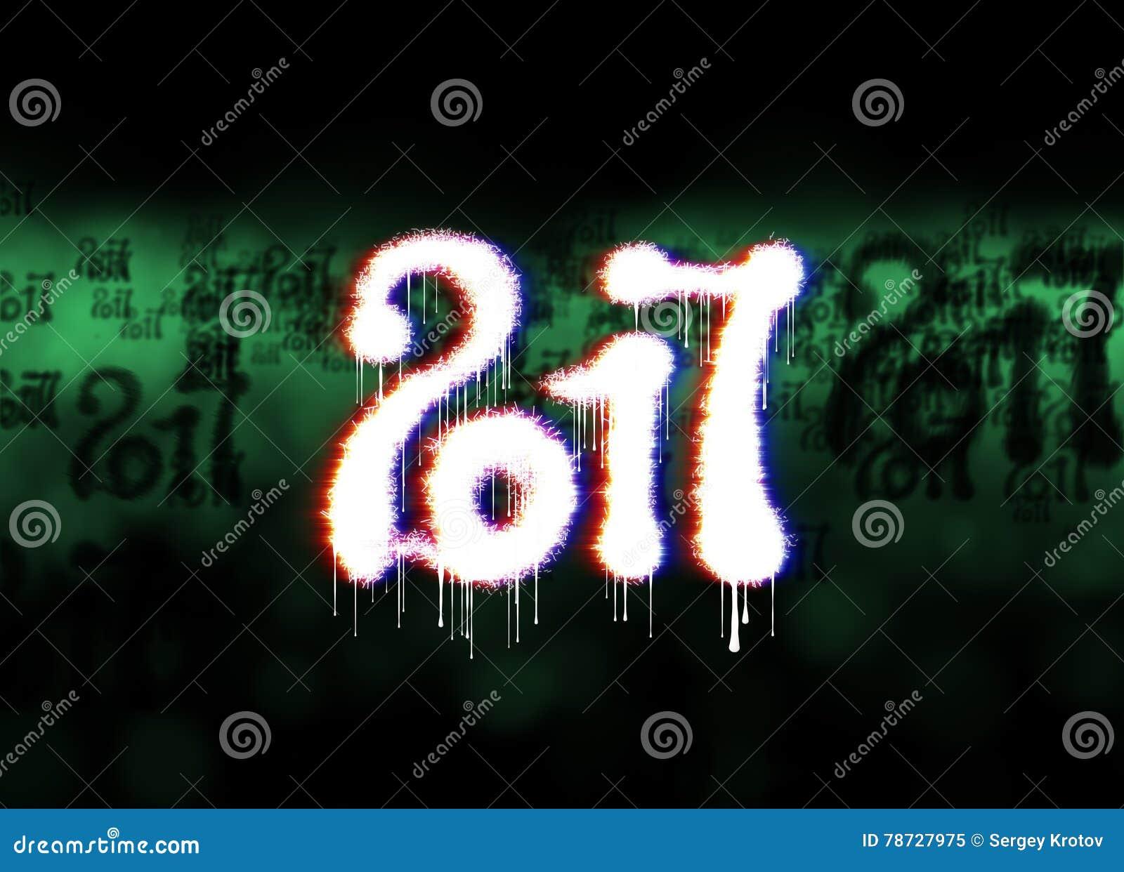 Lyckligt nytt år 2017 numrerar skriftligt med ljus på ljus bokehbakgrund mycket av illustrationen för flygsiffror 3d