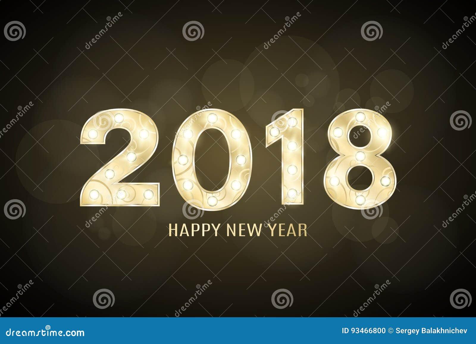 Lyckligt nytt år 2018 och jul År av hunden Gulddiagram med en modell för showen Blinkande lampor Diagram för presenta