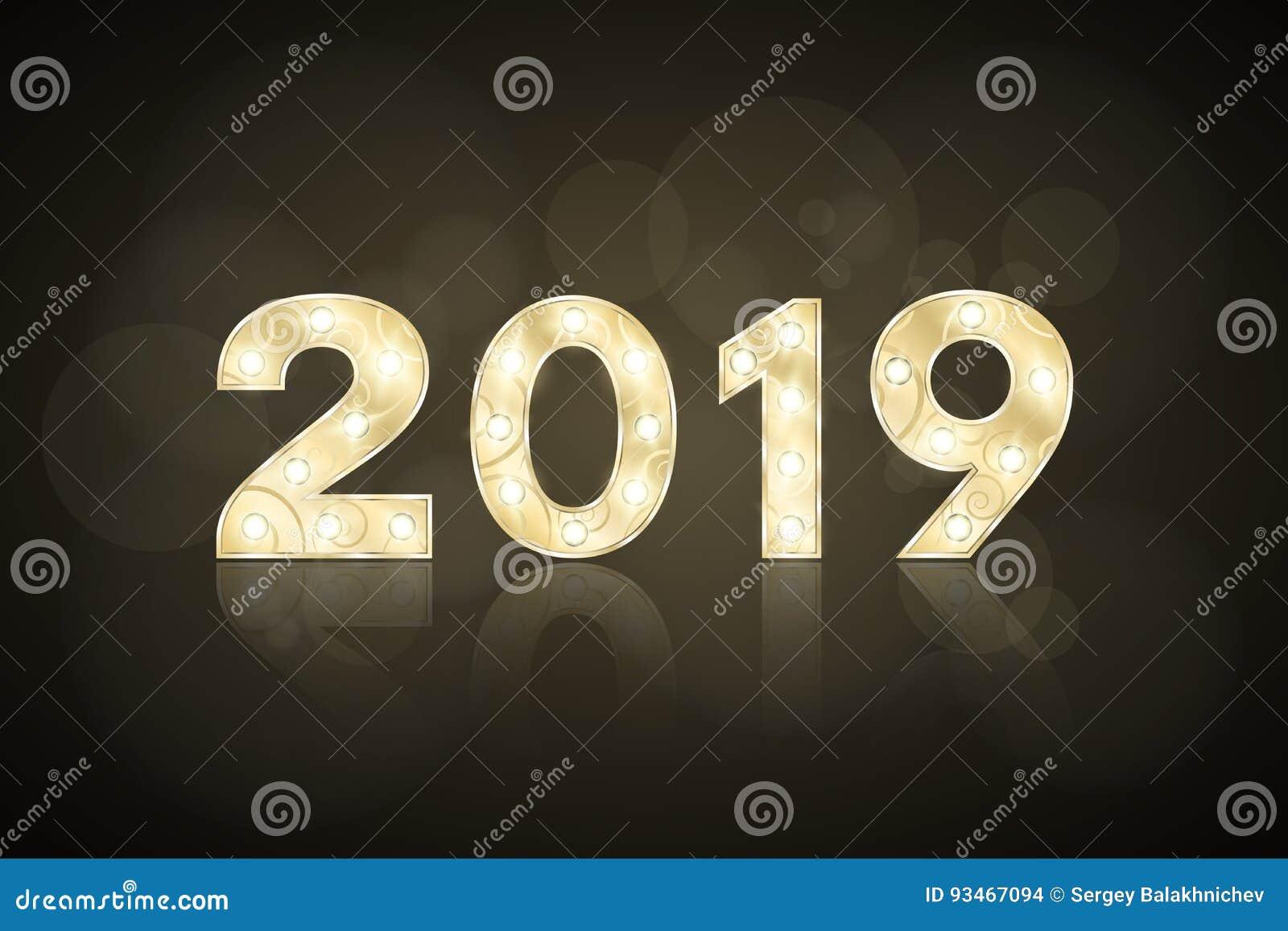 Lyckligt nytt år 2019 och jul Gulddiagram med en modell för showen Blinkande lampor Spegelreflexion av en lantbrukarhemingång Dia