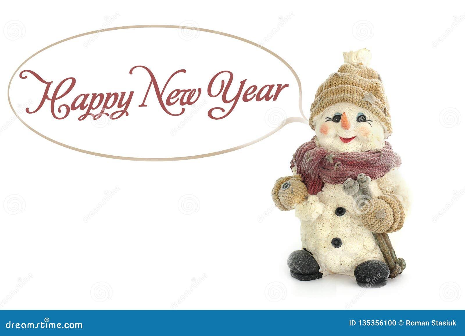 Lyckligt nytt år Snögubbeanseende i snön, på en bakgrund av snö