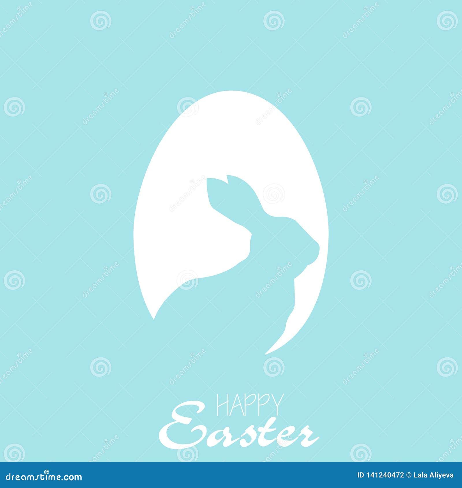 Lyckligt påskkort med ägget och kanin vektor
