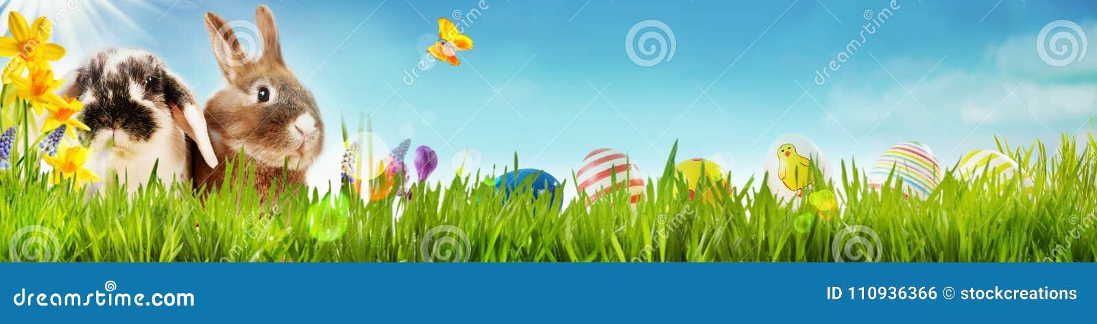 Lyckligt påskvårbaner med små kaniner