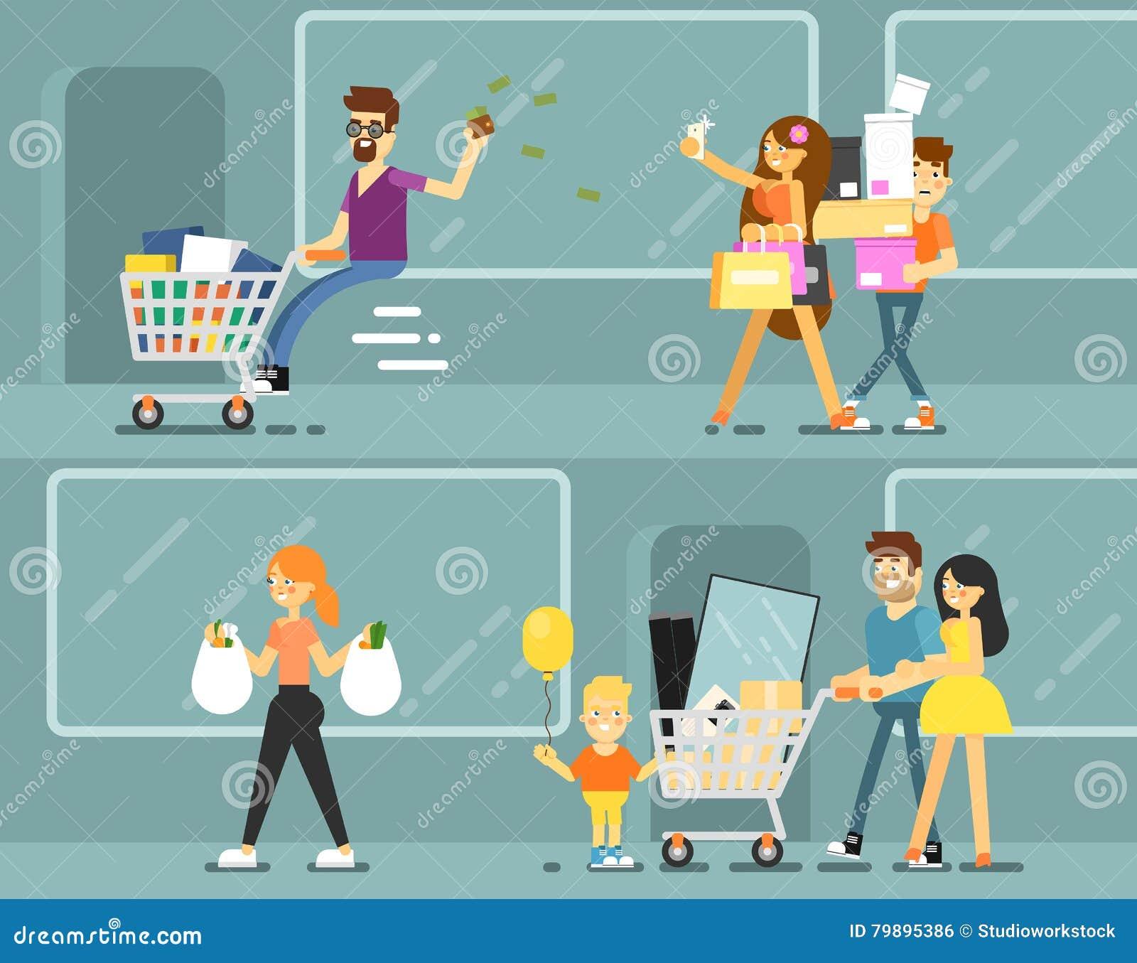 Lyckligt shoppingfolk med påsar