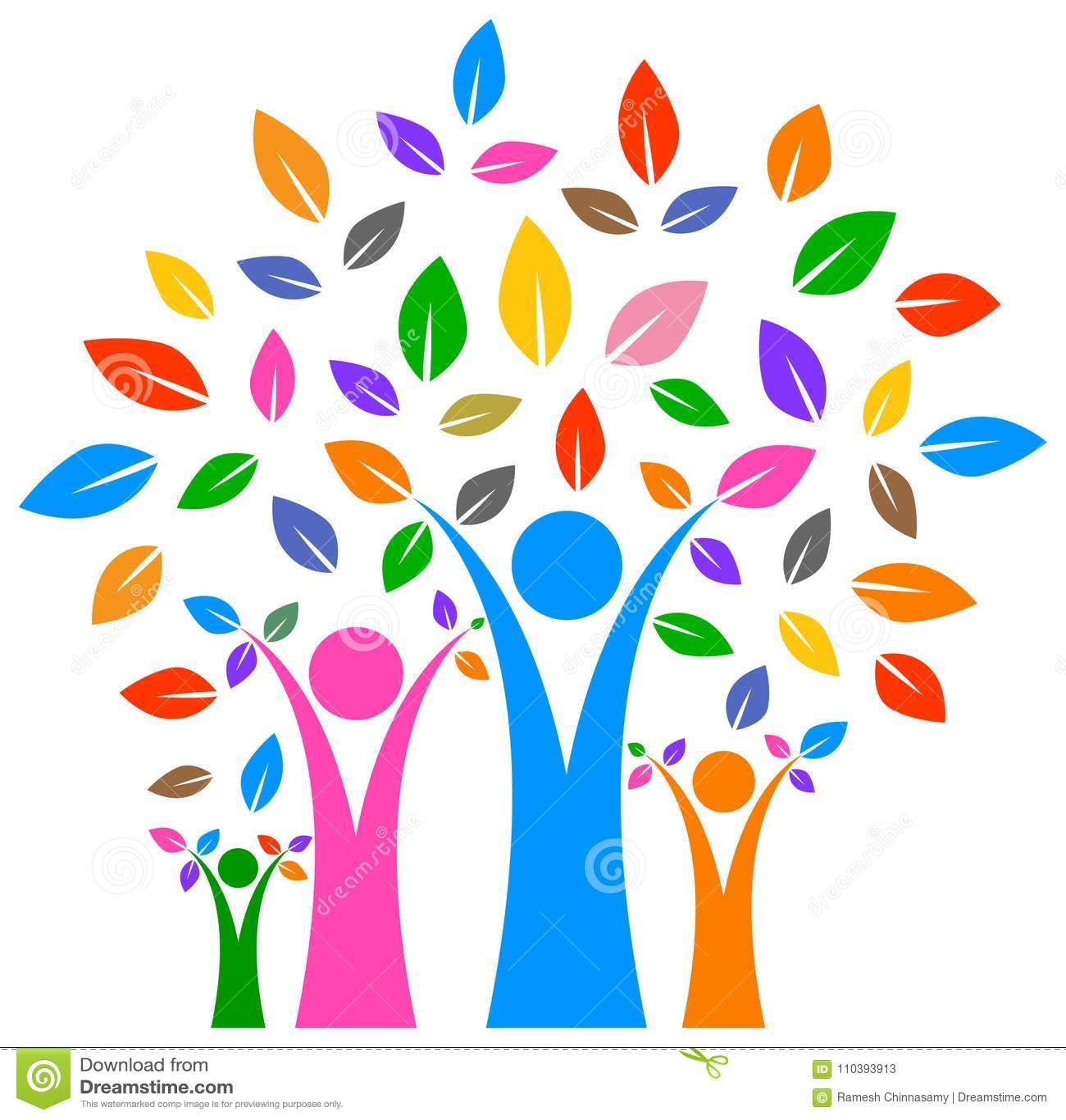 Lyckligt stamträd med färgrik design