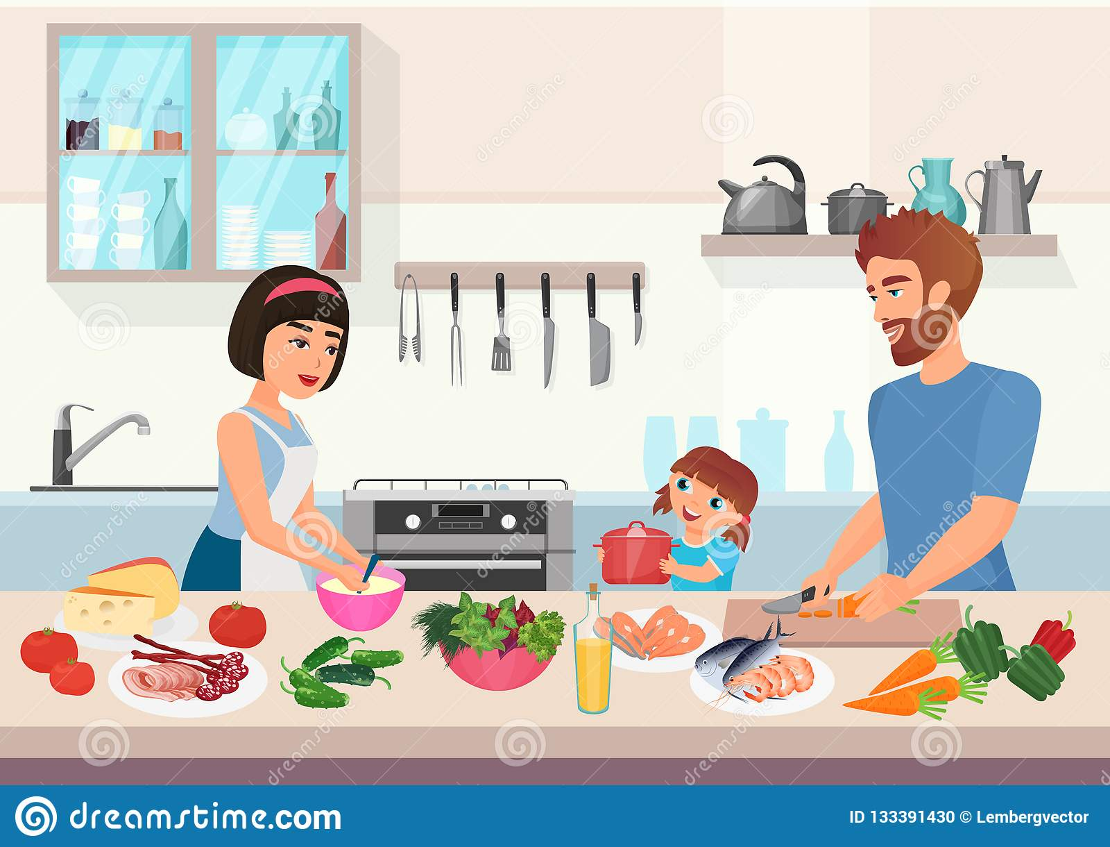 Lyckligt ungt laga mat för familj Disk för fader-, moder- och dotterungekock i illustration för köktecknad filmvektor