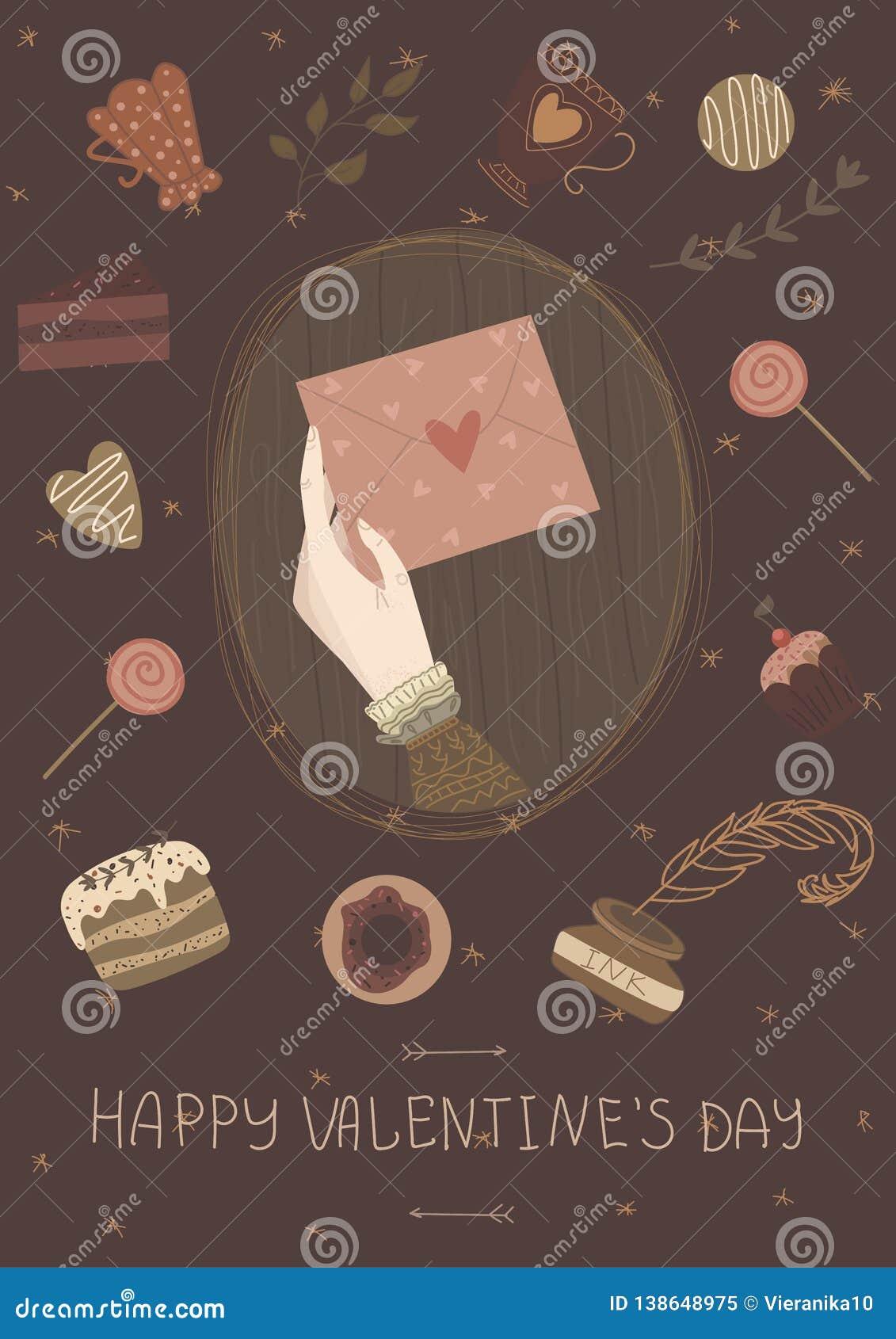 Lyckligt valentindagkort, gullig tappningaffisch, baner, inbjudan